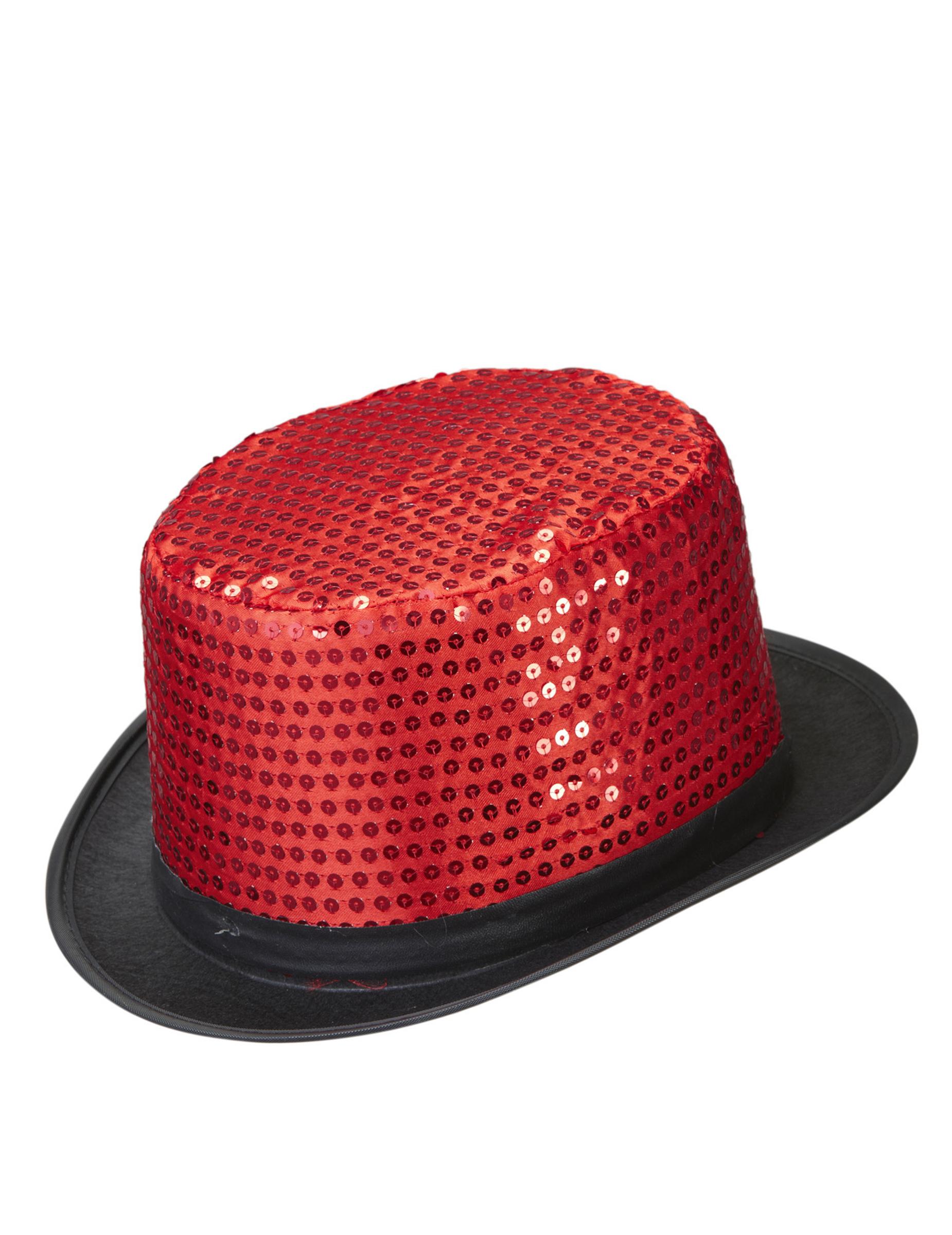 Sombrero alto rojo con lentejuelas adulto  Sombreros 17205aee506