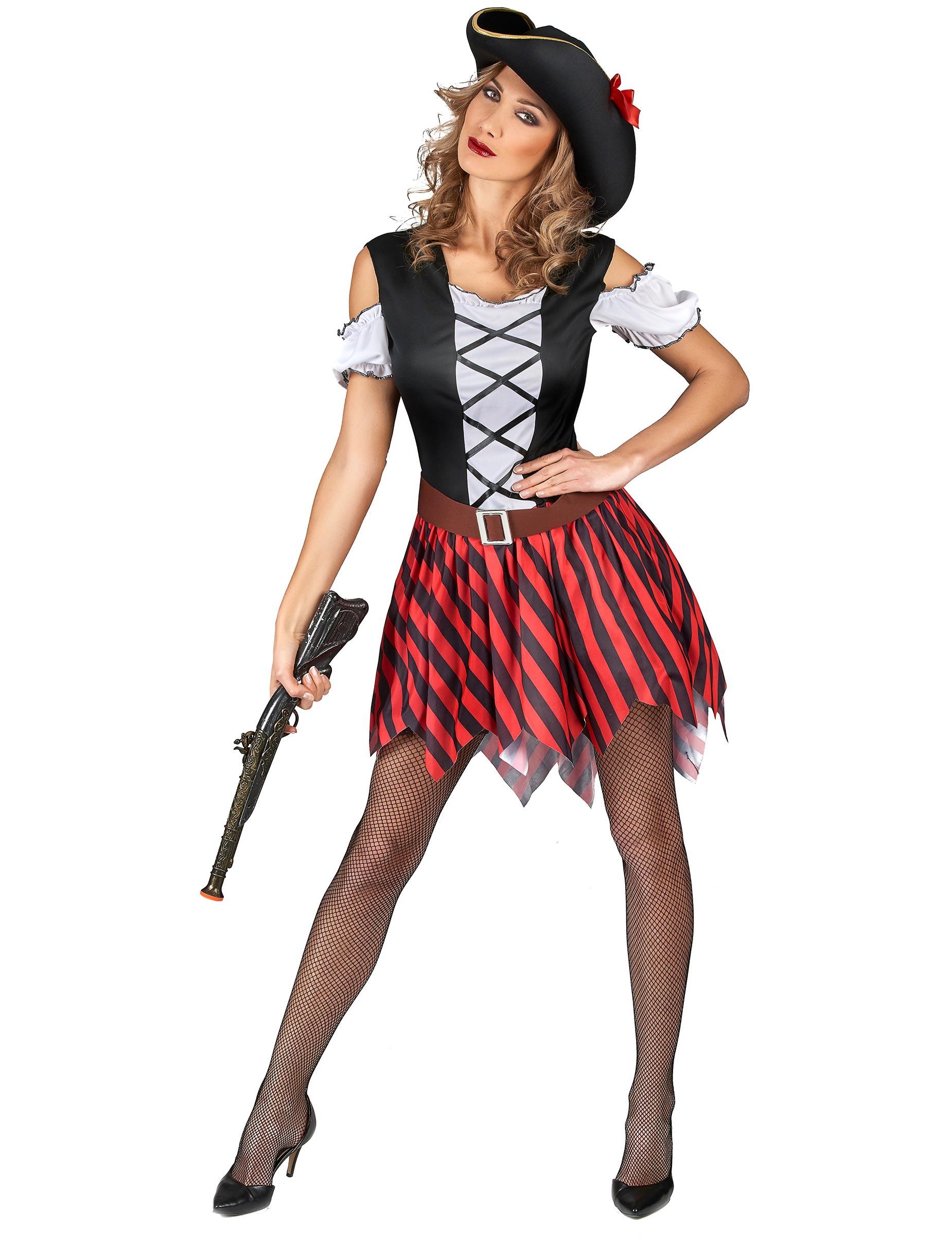 Disfraz pirata rayas rojas y negras mujer: Disfraces ...