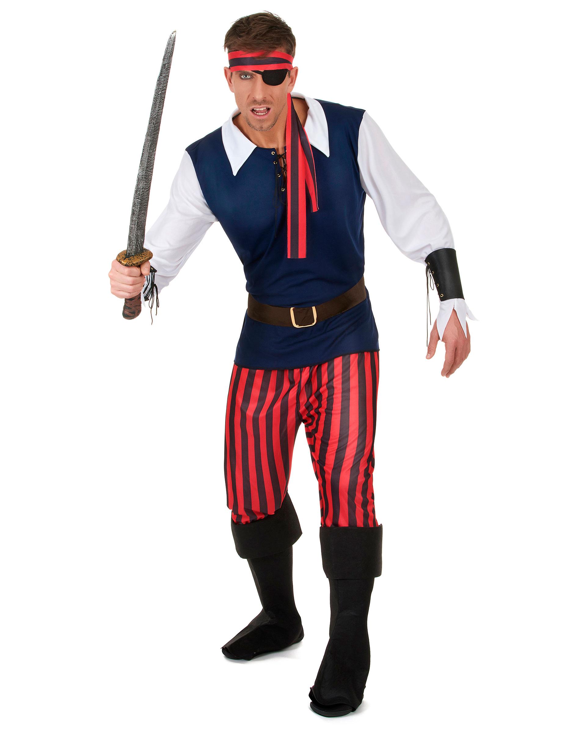 c8c696d873971 Disfraz de pirata rayas rojas y negras hombre  Disfraces adultos