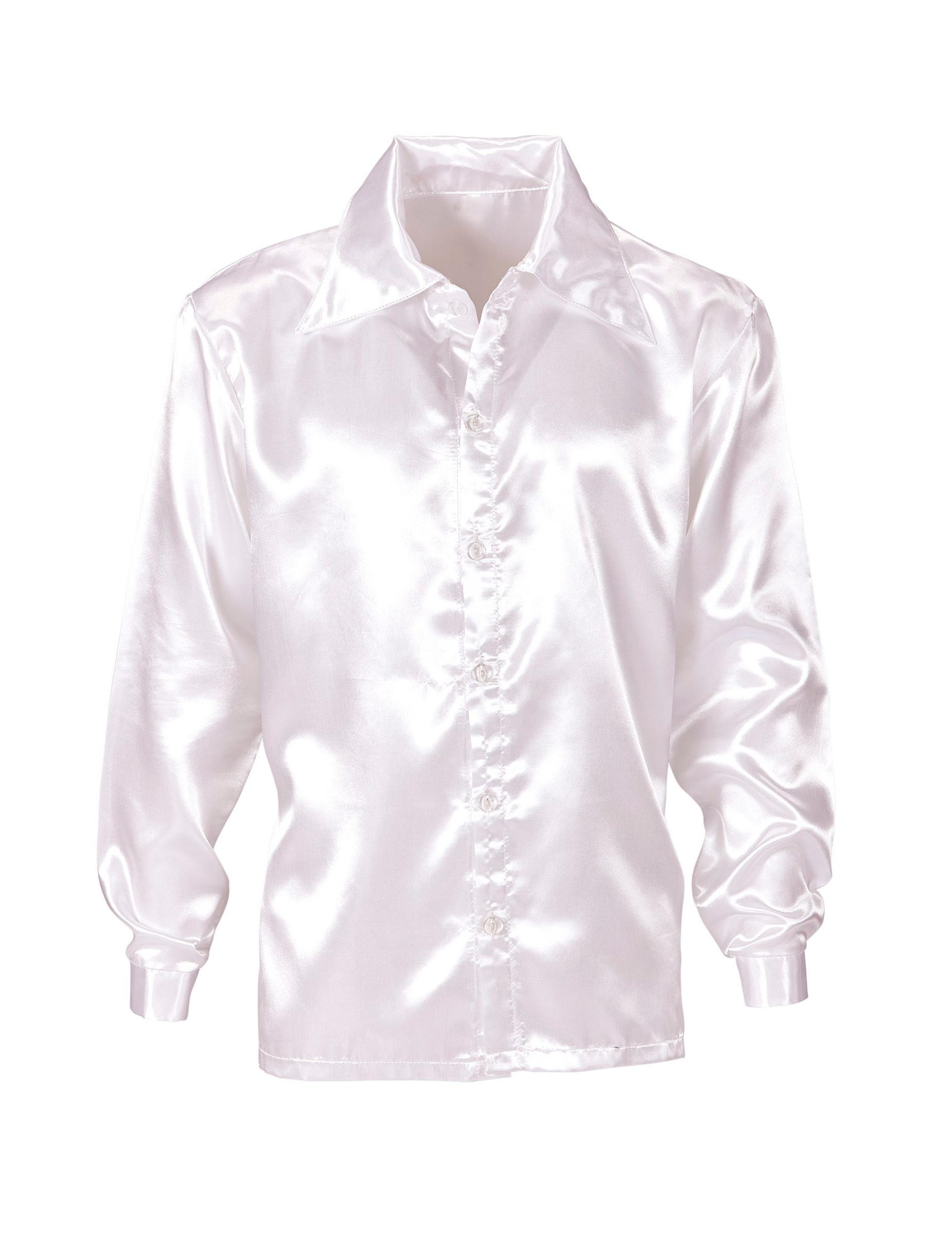 4025f603d2dbe Camisa satinada blanca hombre  Disfraces adultos