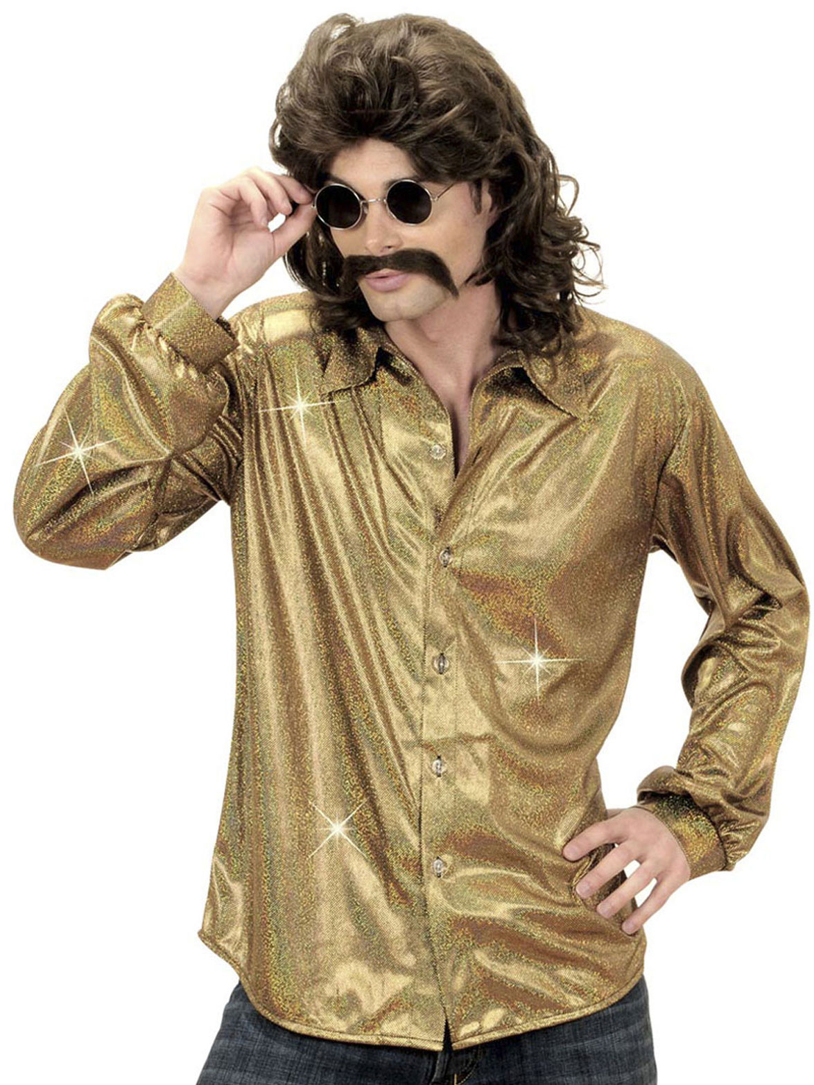 Hombre Holográfica Camisa Disco y Disfraces Dorada Adultos wt70Bqa7