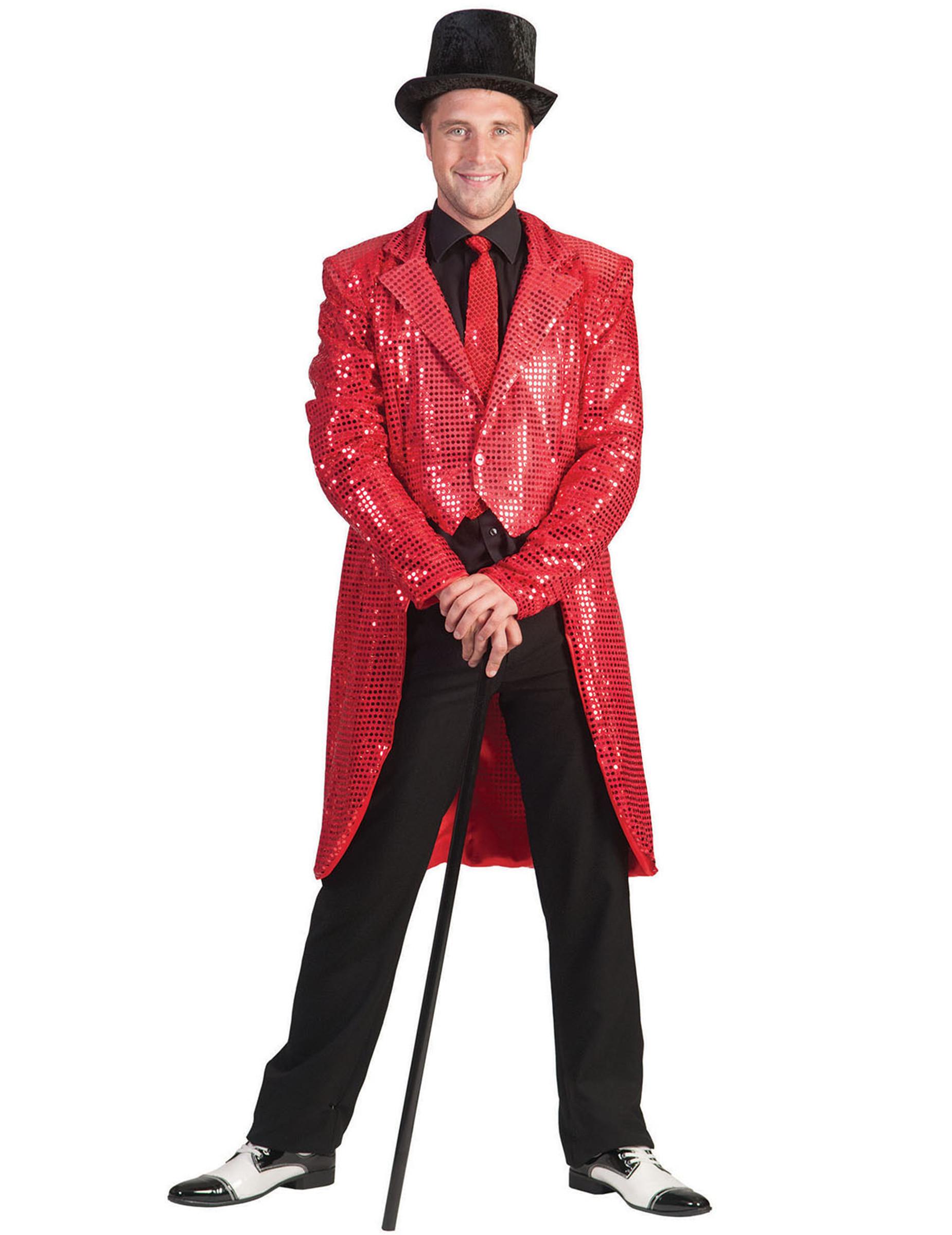diseño atemporal 07e72 b3591 Chaqueta frac roja de lentejuelas hombre