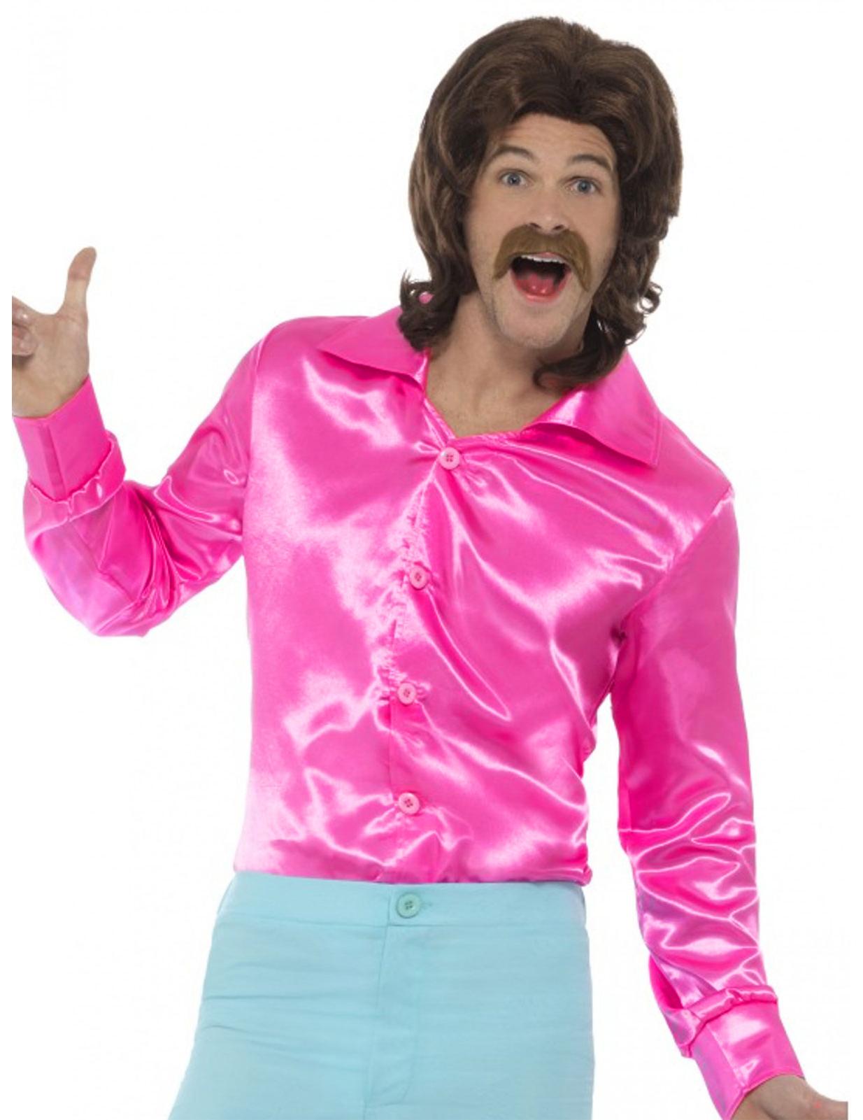 5bb1c4b21c4f4 Camisa satinada rosa fosforita hombre  Disfraces adultos