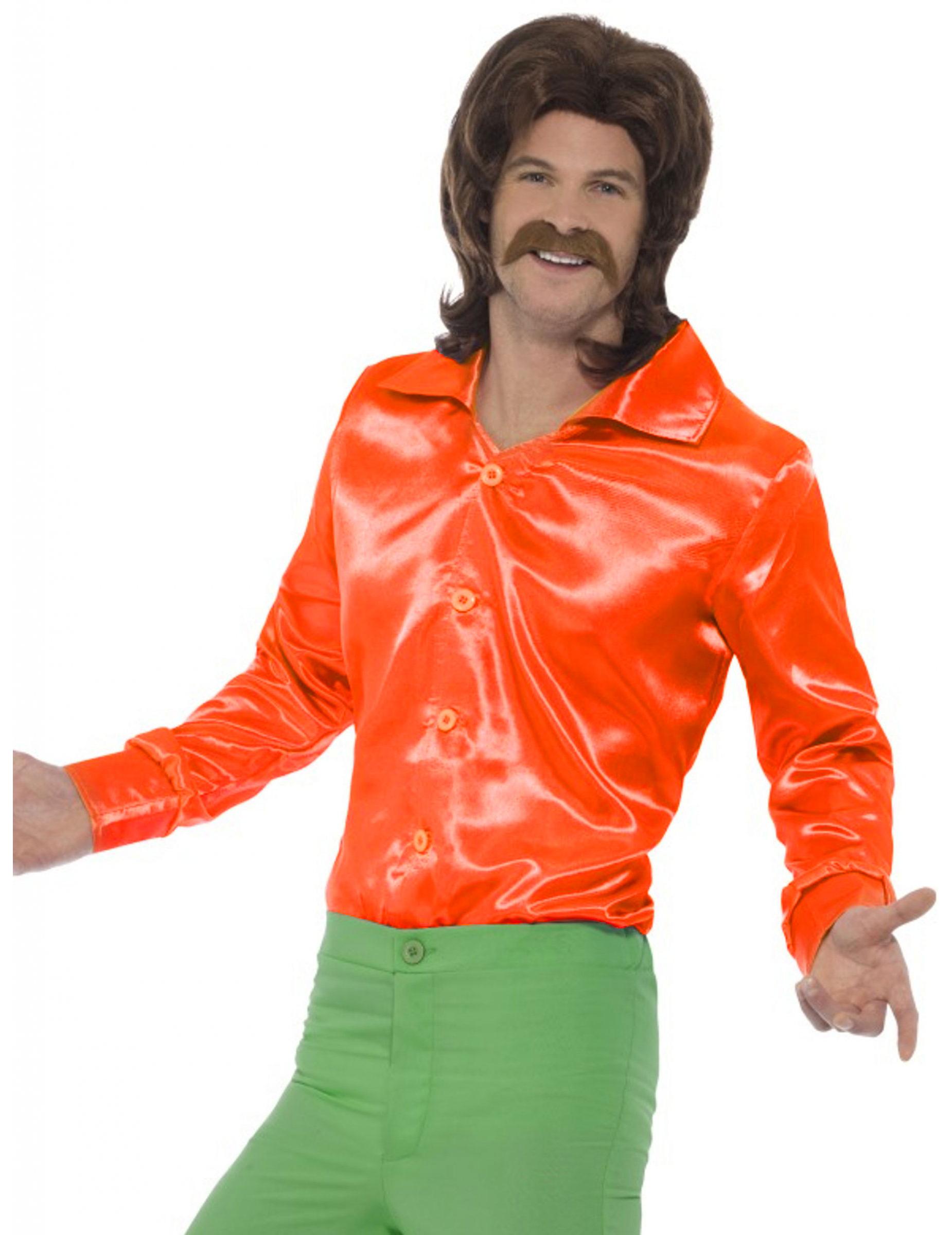 a6f447255aaf0 Camisa naranja satinada fluo hombre  Disfraces adultos