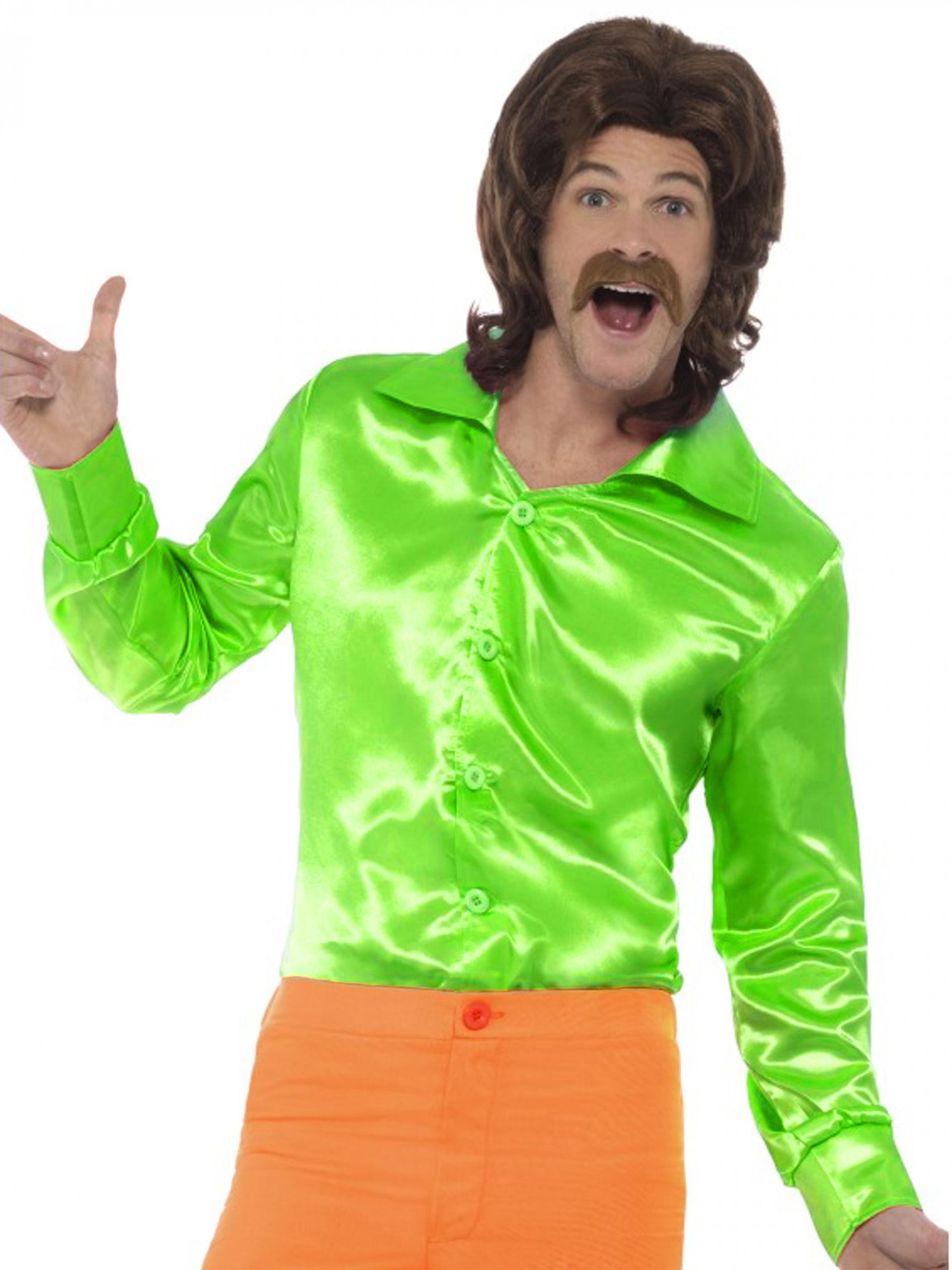 282091317d124 Camisa satinada verde hombre  Disfraces adultos