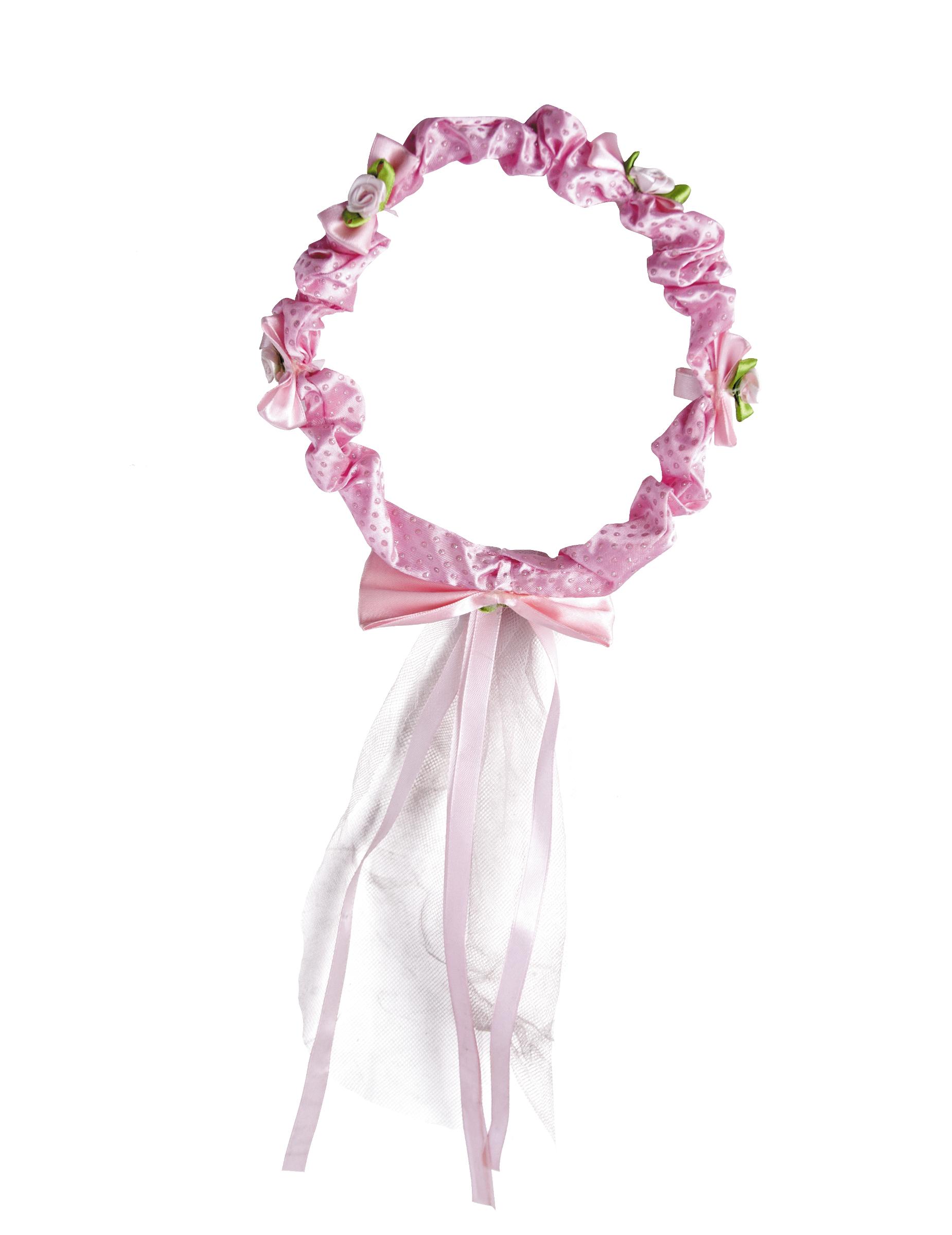 Corona de flores rosas con lazo para Nia Accesoriosy disfraces