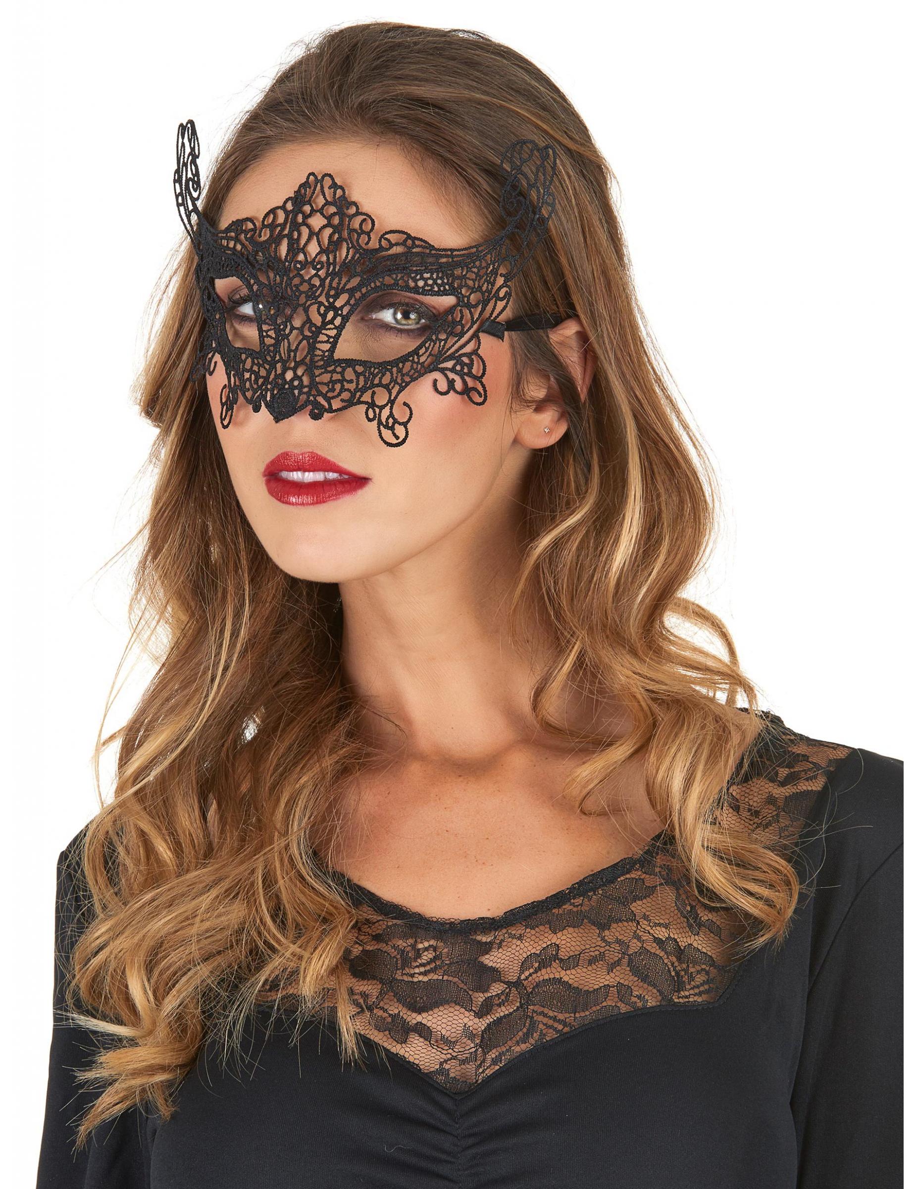 Máscara veneciana encaje negro para mujer  Máscaras bb31c6dfbfa