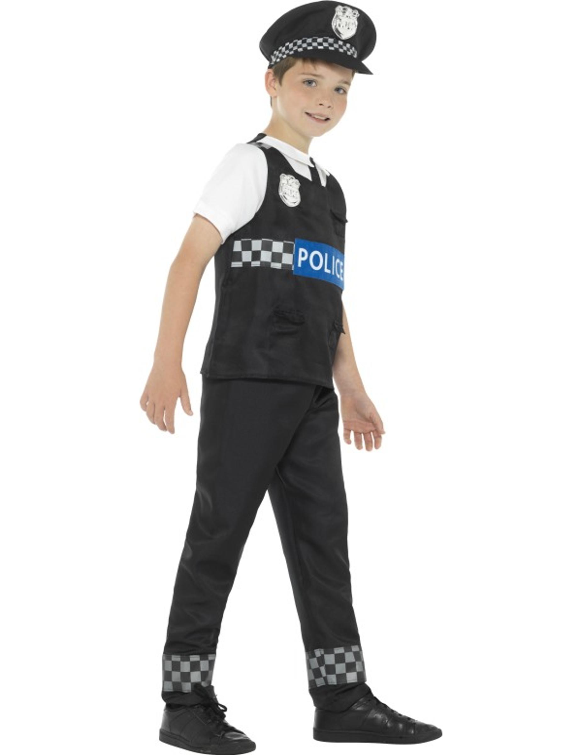 Disfraz policía negro y blanco niño  Disfraces niños 21453579b46