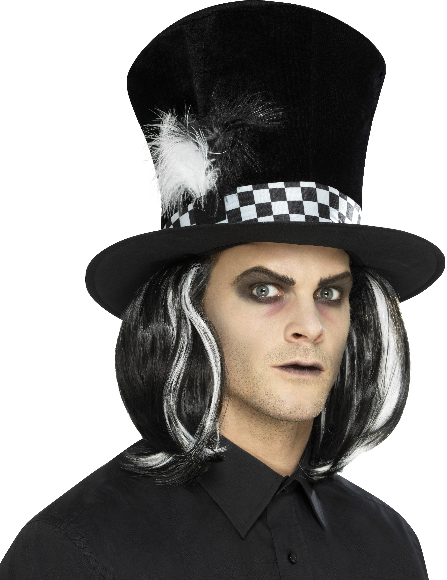 Sombrero de copa negro con pelo adulto  Sombreros e8a269a9220