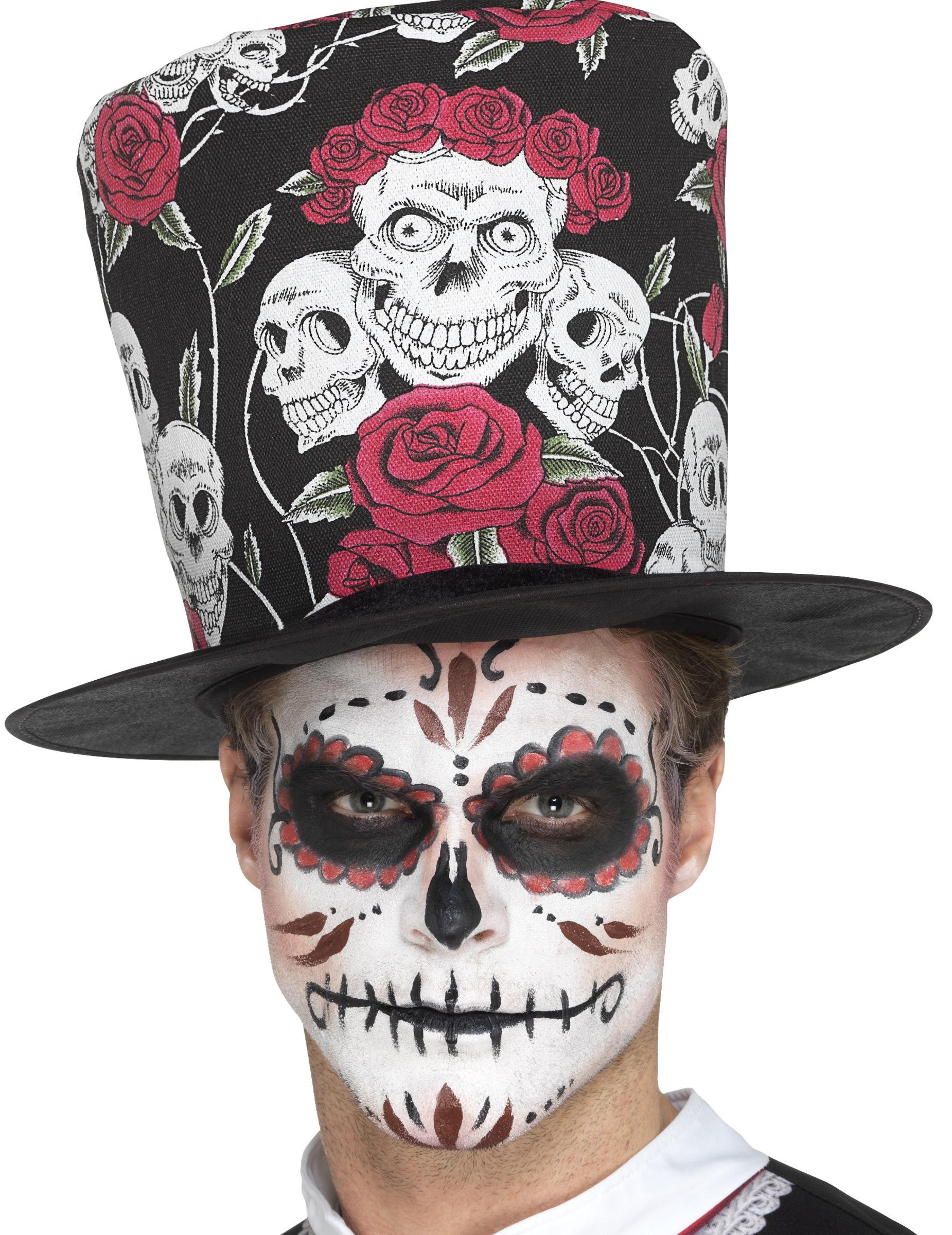 Sombrero de copa calavera adulto Día de los muertos  Sombreros d526e74324a