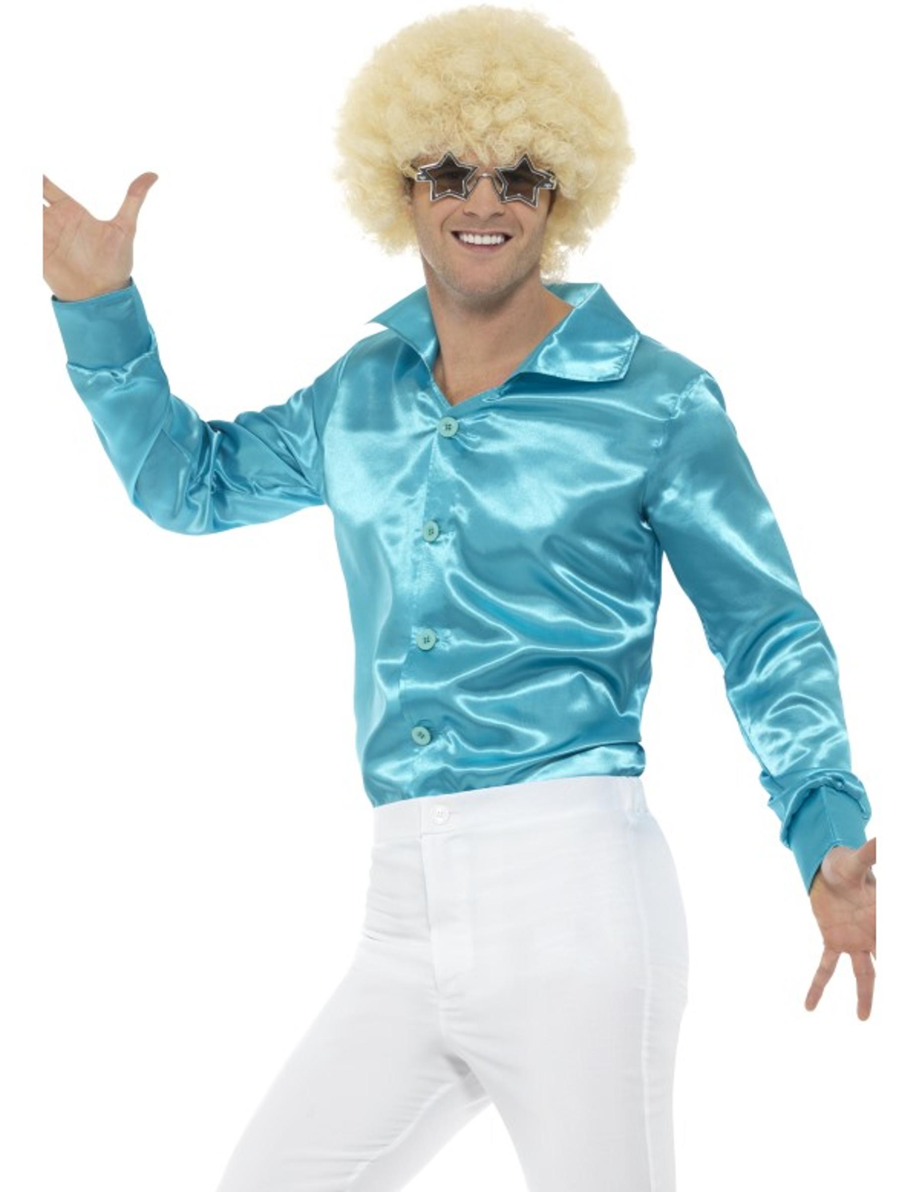 764bf95aa0fcd Camisa satinada turquesa hombre  Disfraces adultos