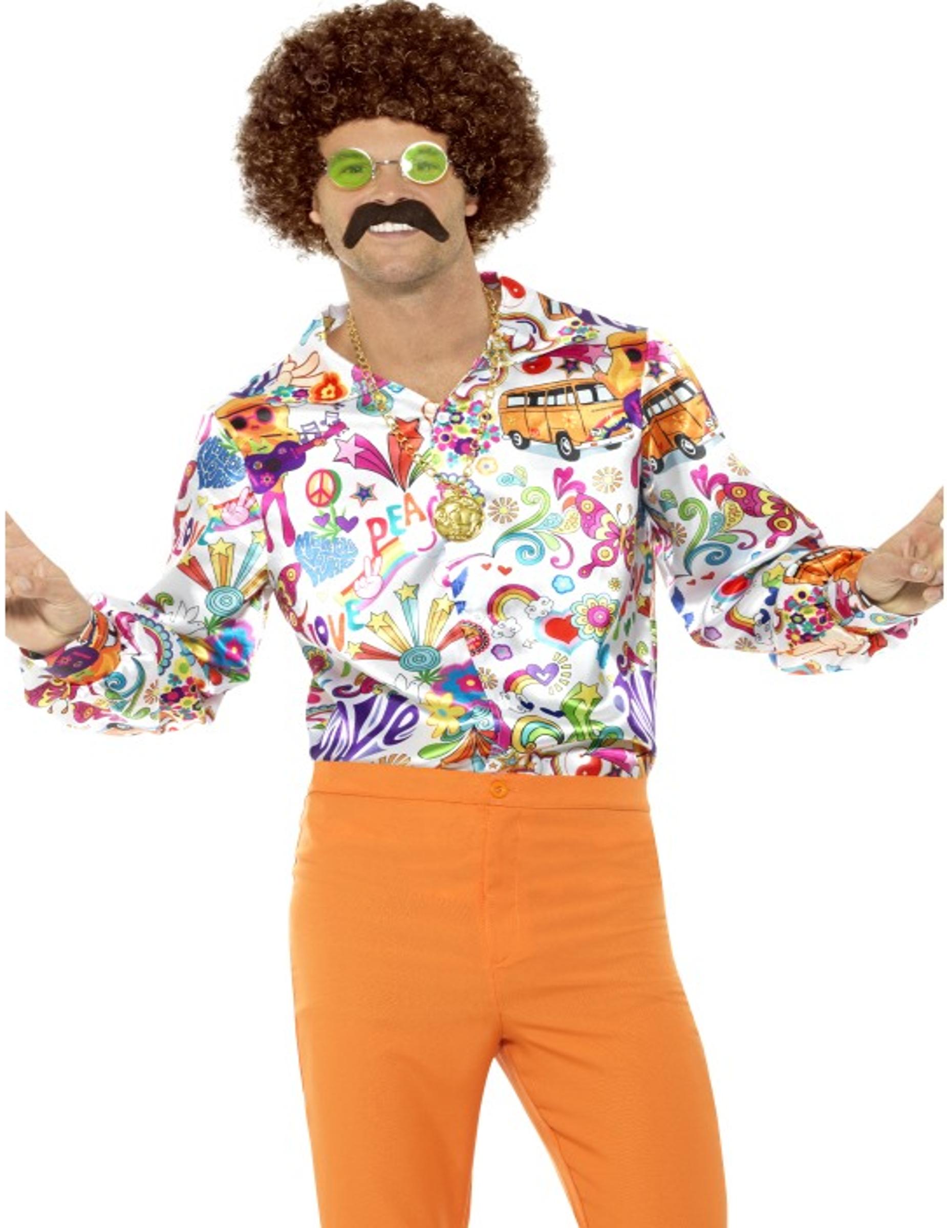 68b220f57306e Camisa satinada hippie años 60 hombre  Disfraces adultos