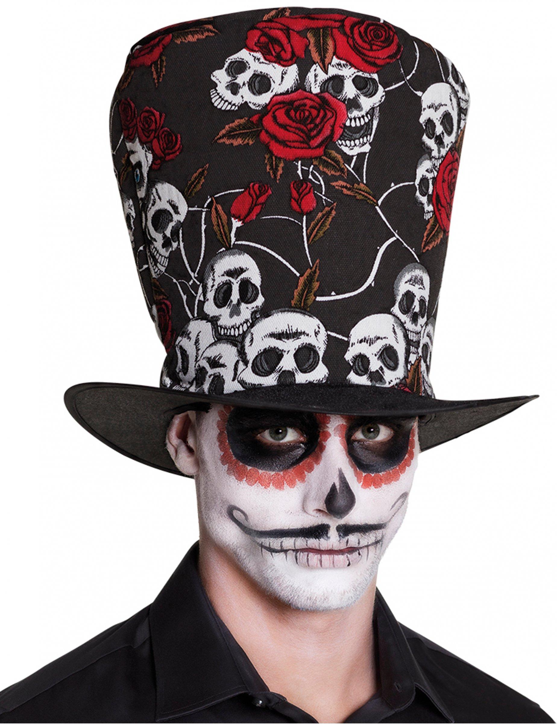 Sombrero de copa calavera y rosas rojas adulto Día de los muertos ... 7ddf99fa12a