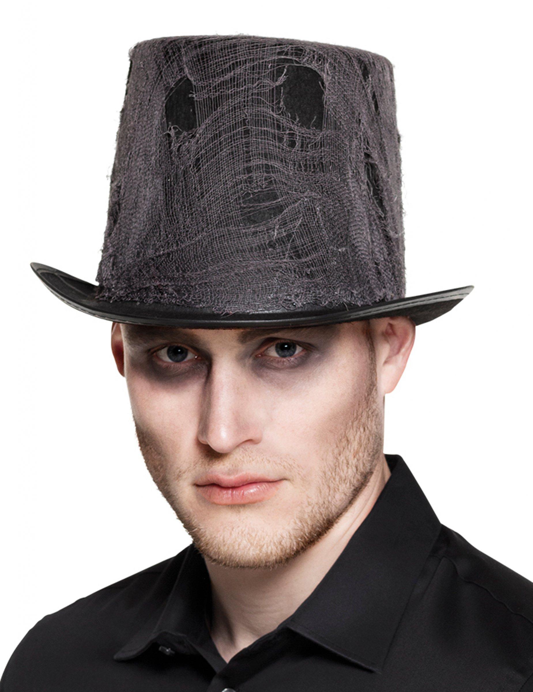 Sombrero de copa negro con tela adulto Halloween  Sombreros b127c9d6ce5