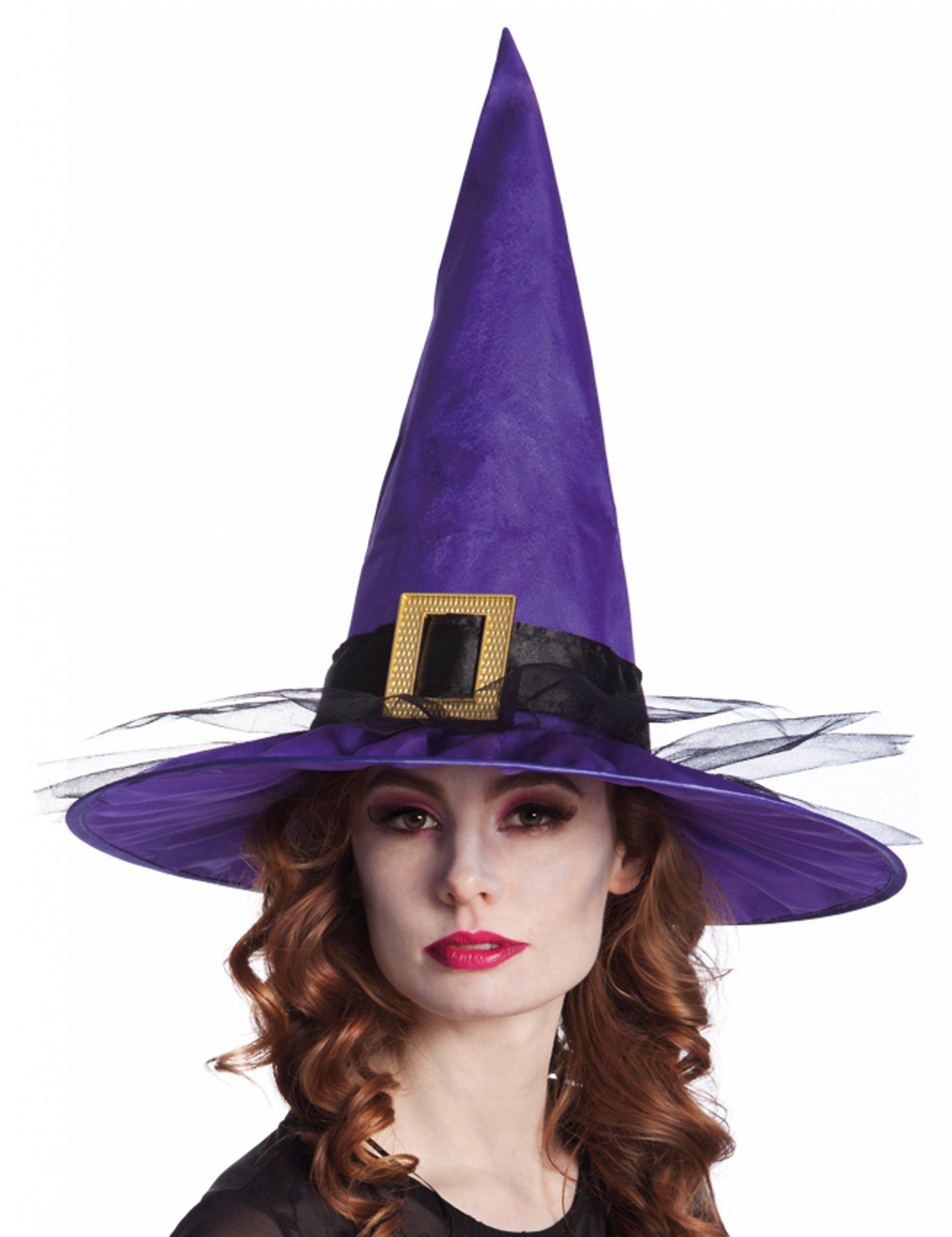 Sombrero bruja terciopelo con hebilla adulto Halloween  Sombreros c18804096e7
