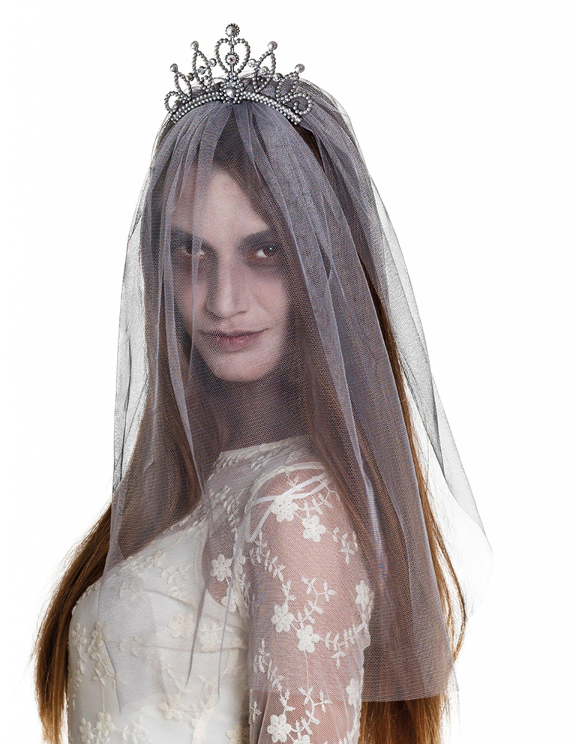 2467fe61d4 Diadema con velo novia zombie mujer Halloween  Accesorios