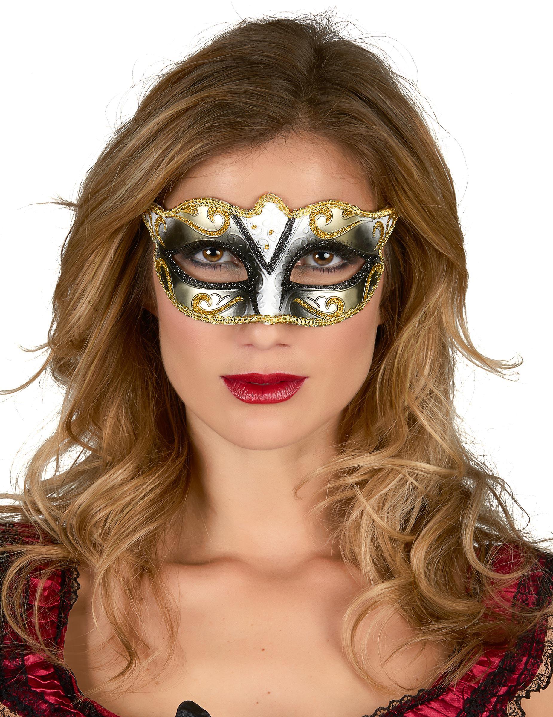 Antifaz veneciano dorado para adulto  Máscaras f47f77f5e5a