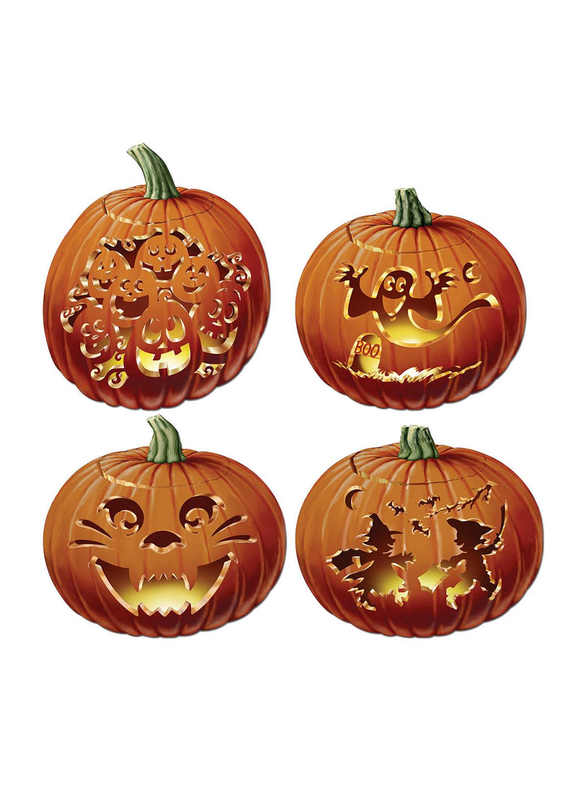 4 calabazas decoradas Halloween 36 cm Decoraciny disfraces