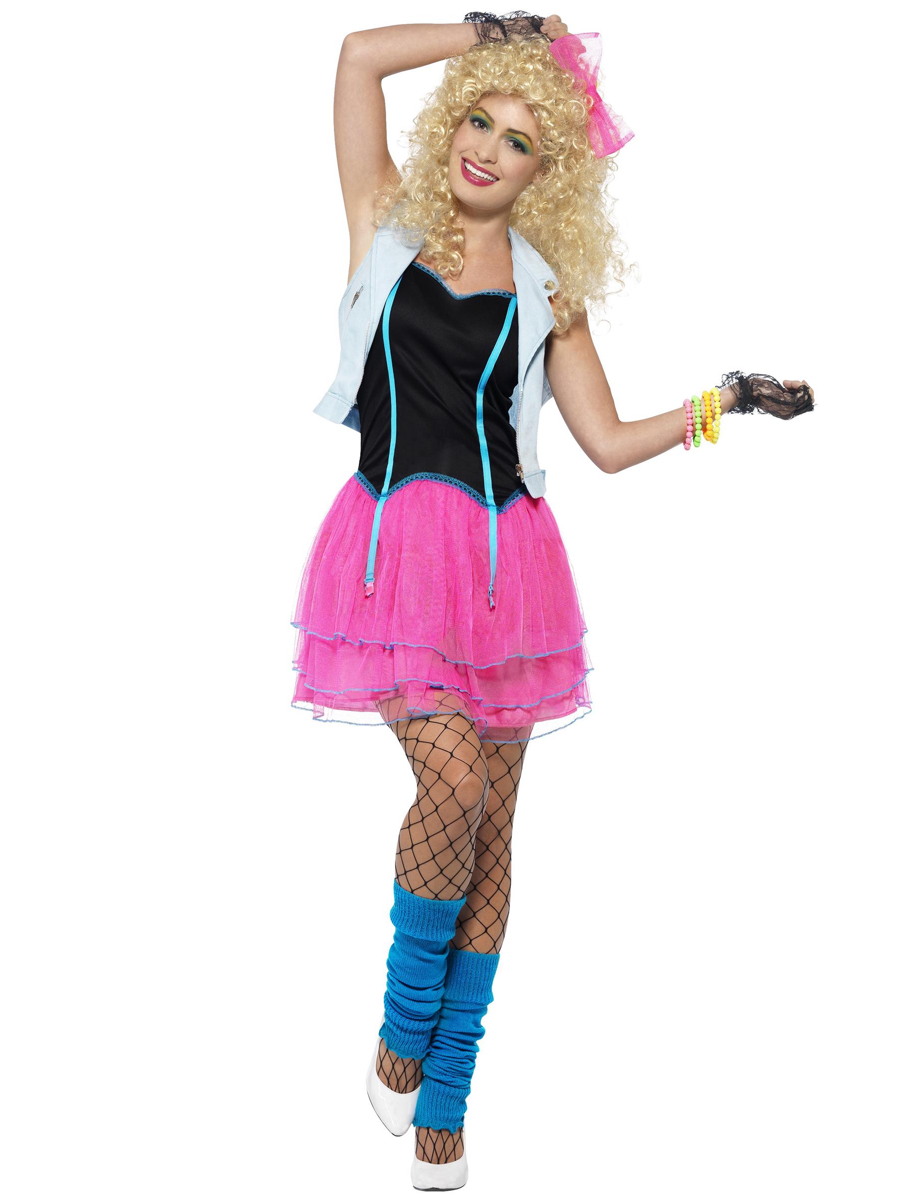 Disfraz rosa y negro años 80 mujer: Disfraces adultos,y disfraces ...