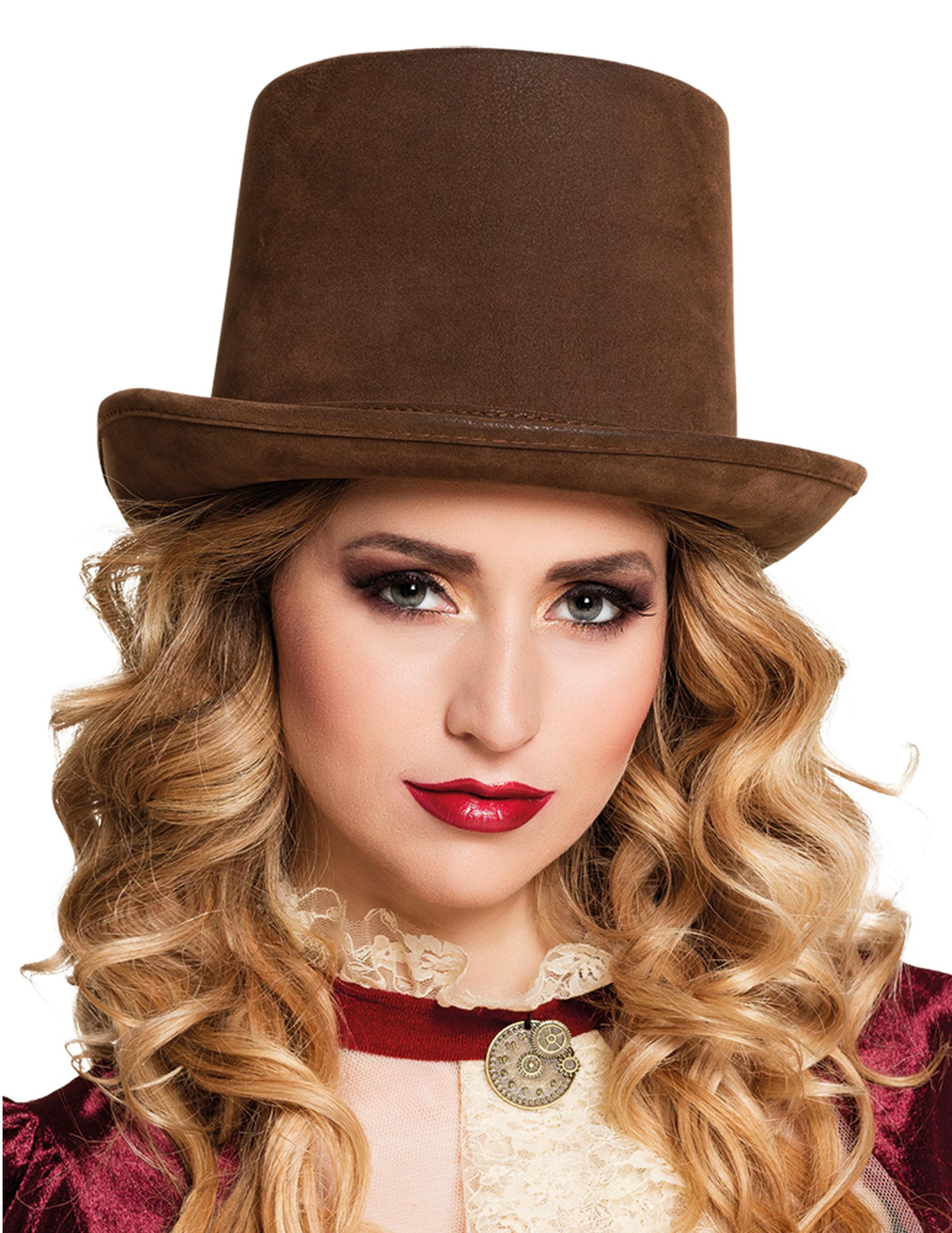 Sombrero de copa marrón adulto Steampunk  Sombreros f8107d490d9