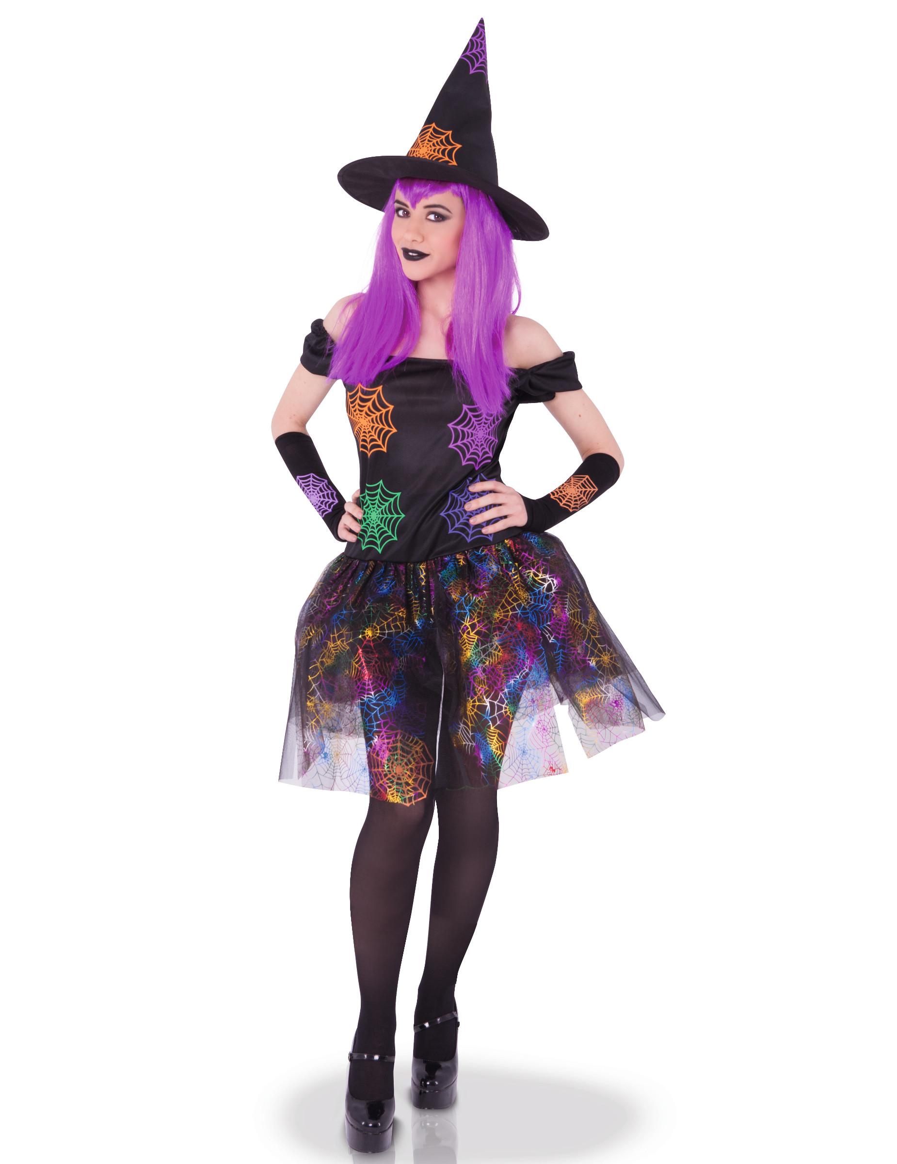 d4396f91e Disfraz bruja telarañas multicolor mujer