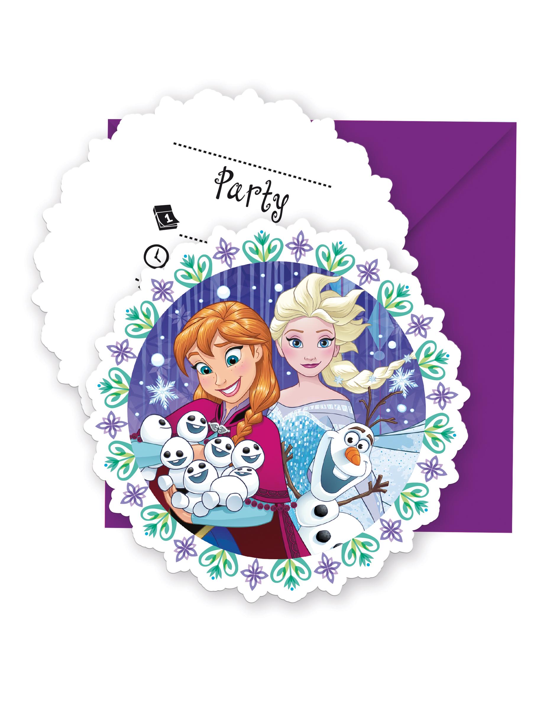 6 Tarjetas De Invitación Sobres Frozen