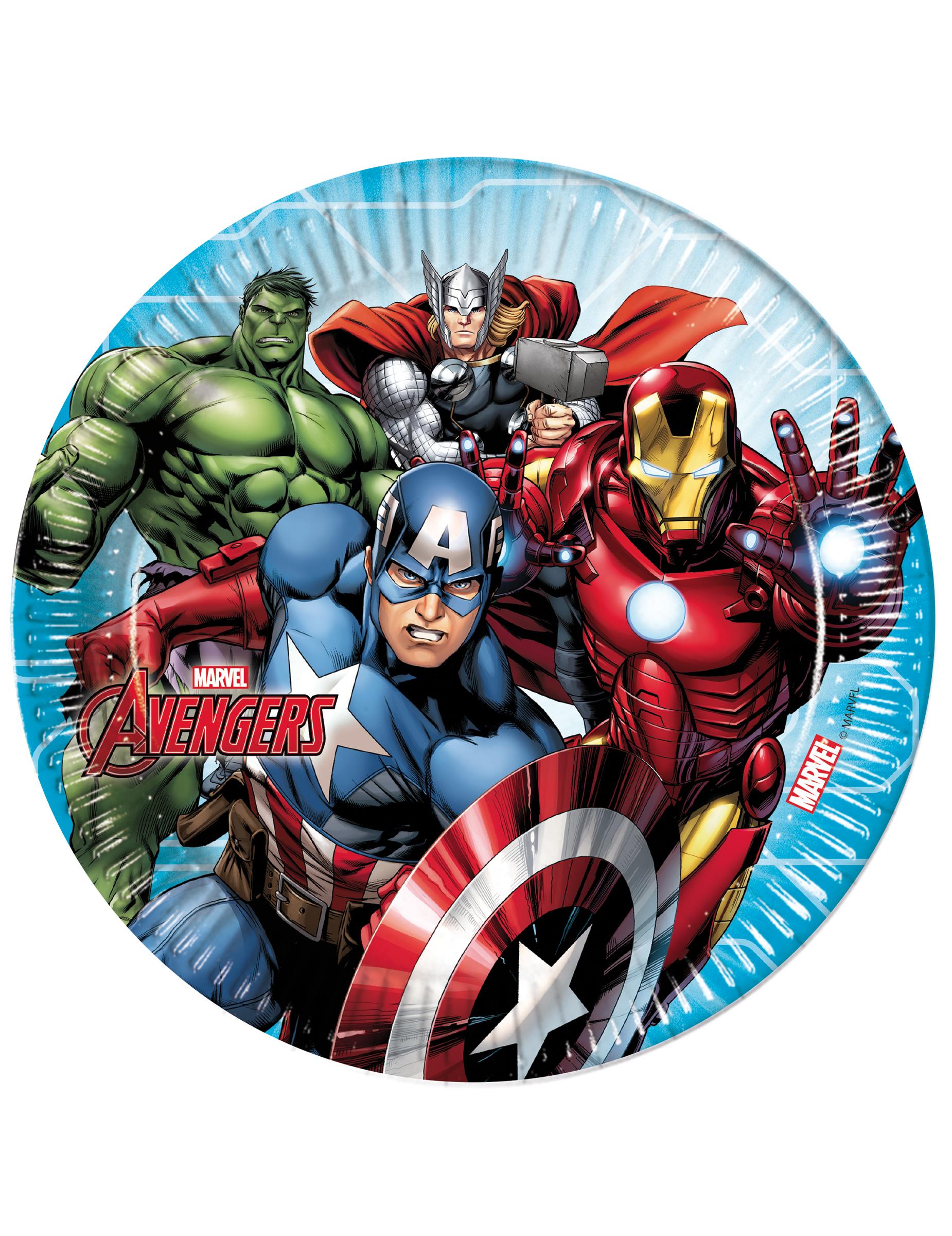 Mighty de Decoración 23 cm cartón y Avengers 8 Platos disfraces YqAaa
