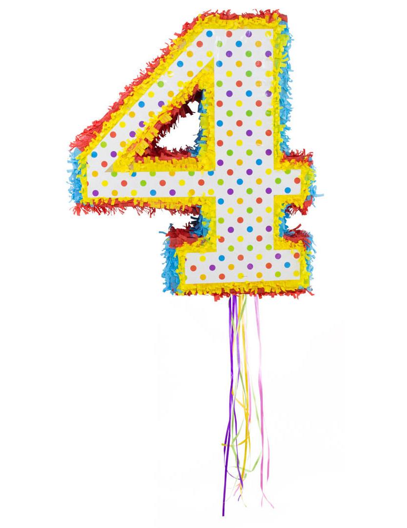 piñata con el número 4 decoración y disfraces originales baratos