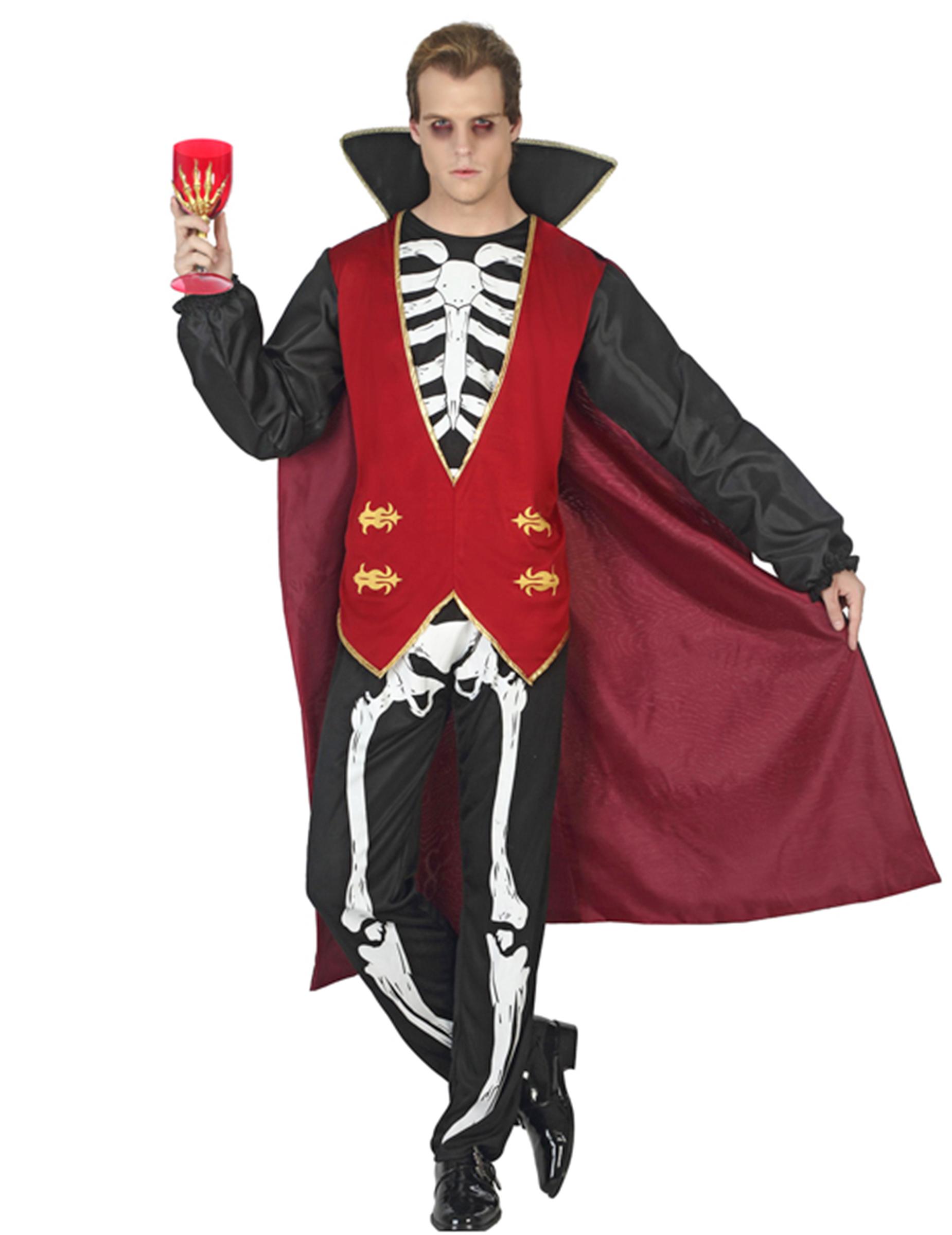Disfraz vampiro esqueleto hombre Halloween Disfraces adultosy