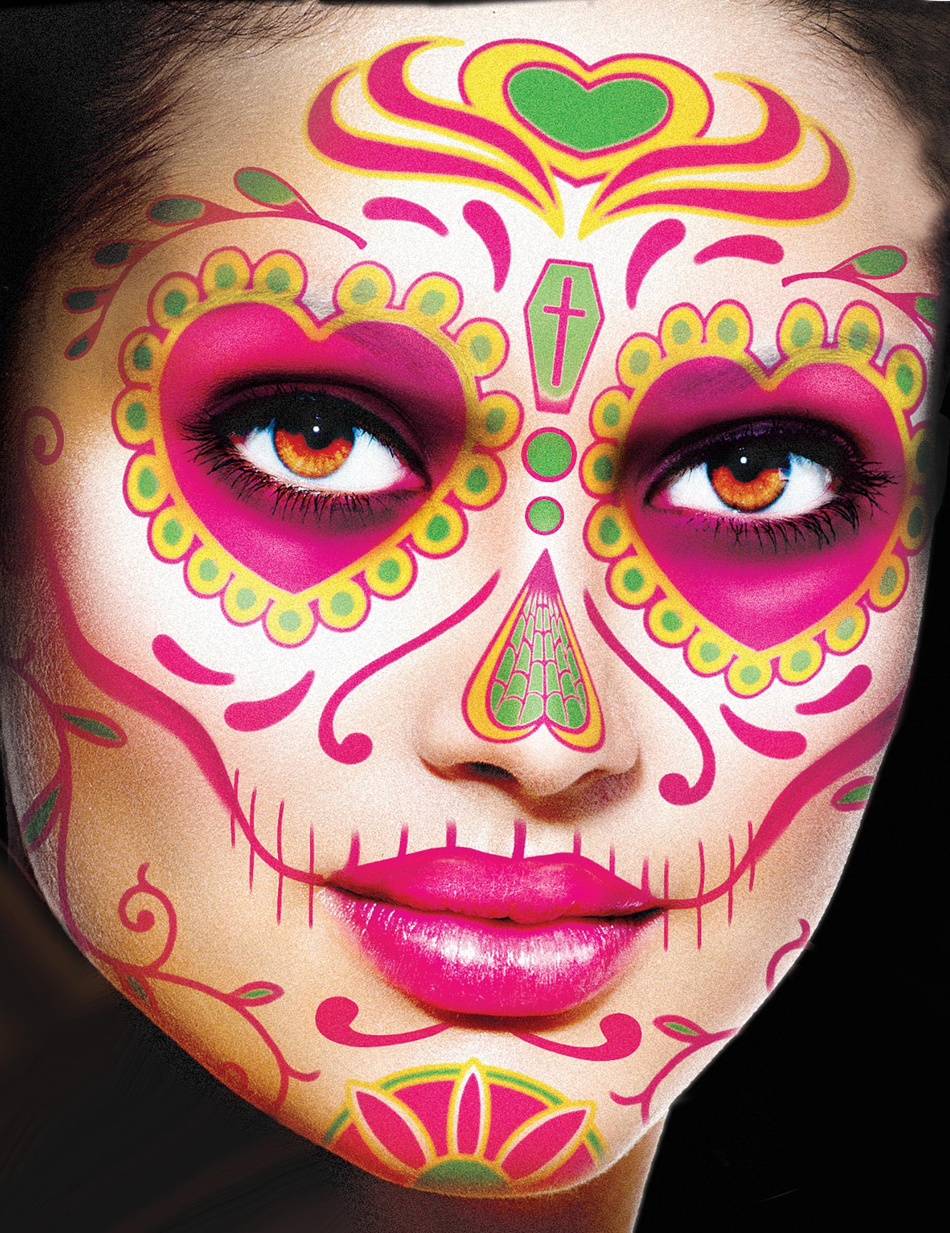 Tatuaje Temporal Para La Cara Día De Los Muertos Mujer Maquillaje
