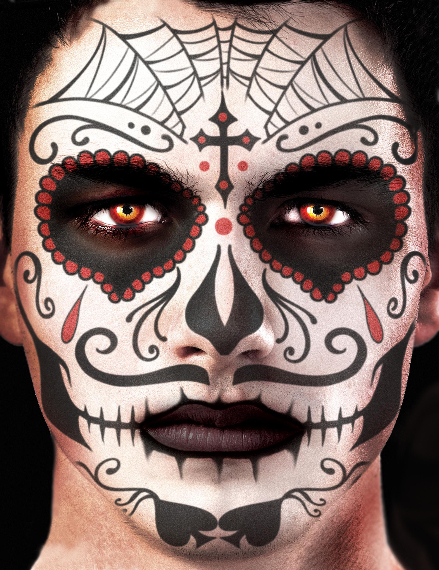 Tatuaje Temporal Para La Cara Día De Los Muertos Adulto Maquillaje