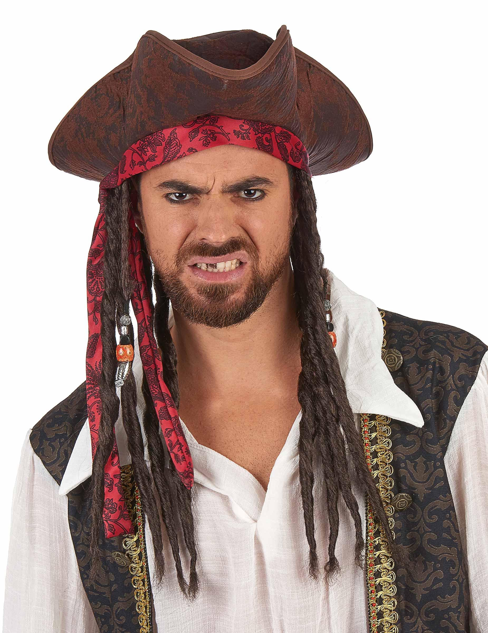 Sombrero pirata marrón con peluca adulto  Sombreros ad412e984bd