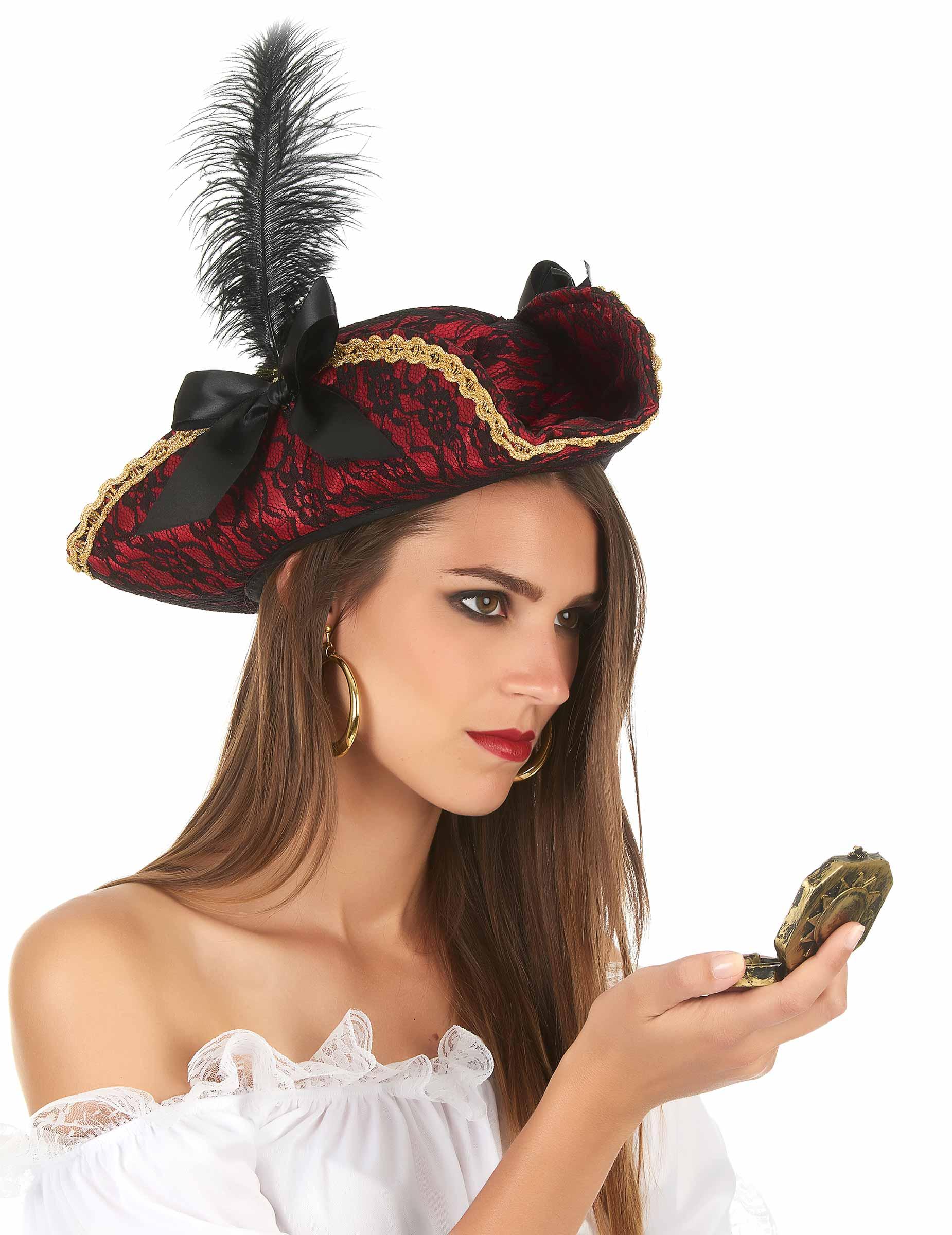 f91483700af1b Sombrero pirata rojo con pluma adulto  Sombreros