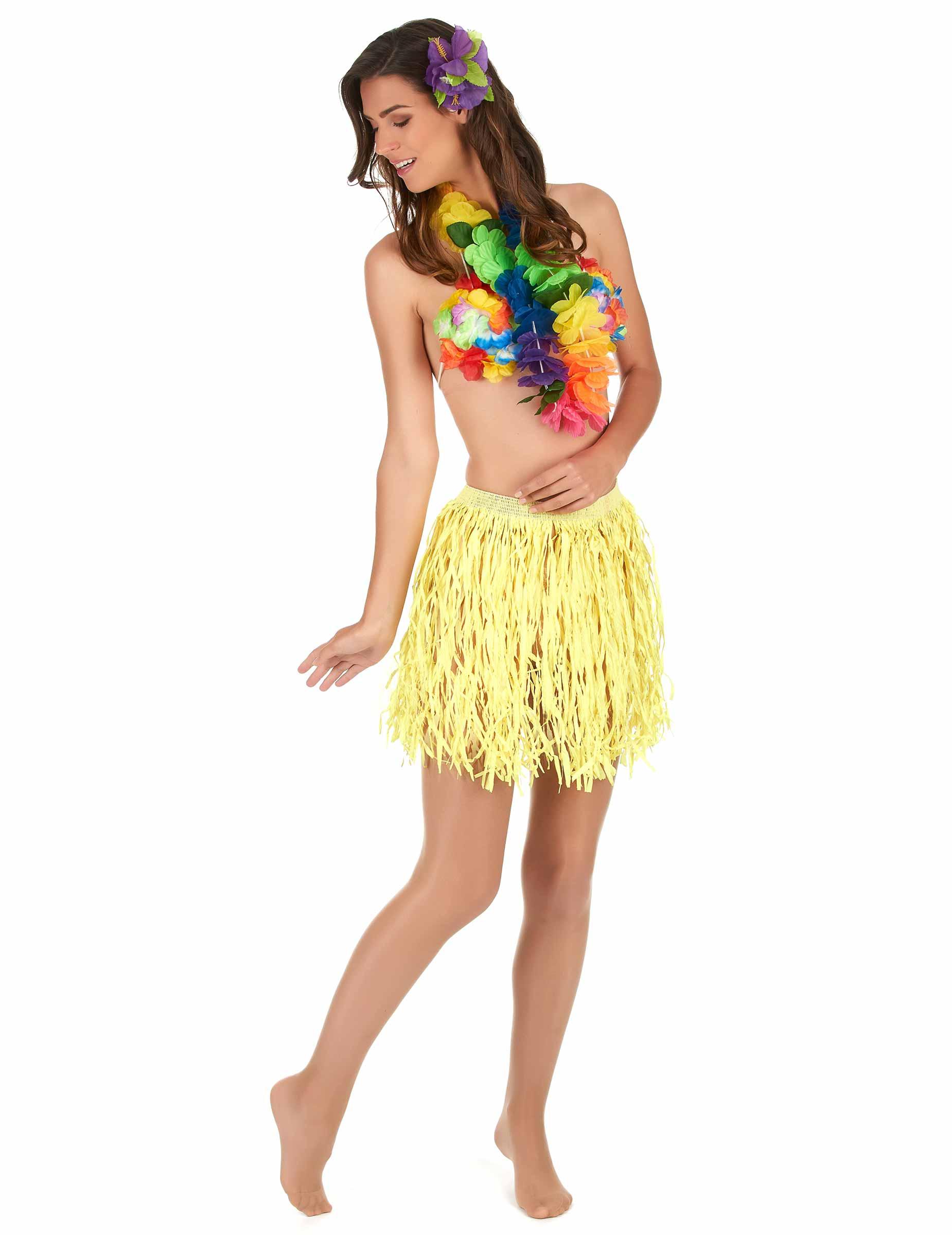 2bbac7ef9 Falda hawaiana corta amarilla papel adulto  Disfraces adultos