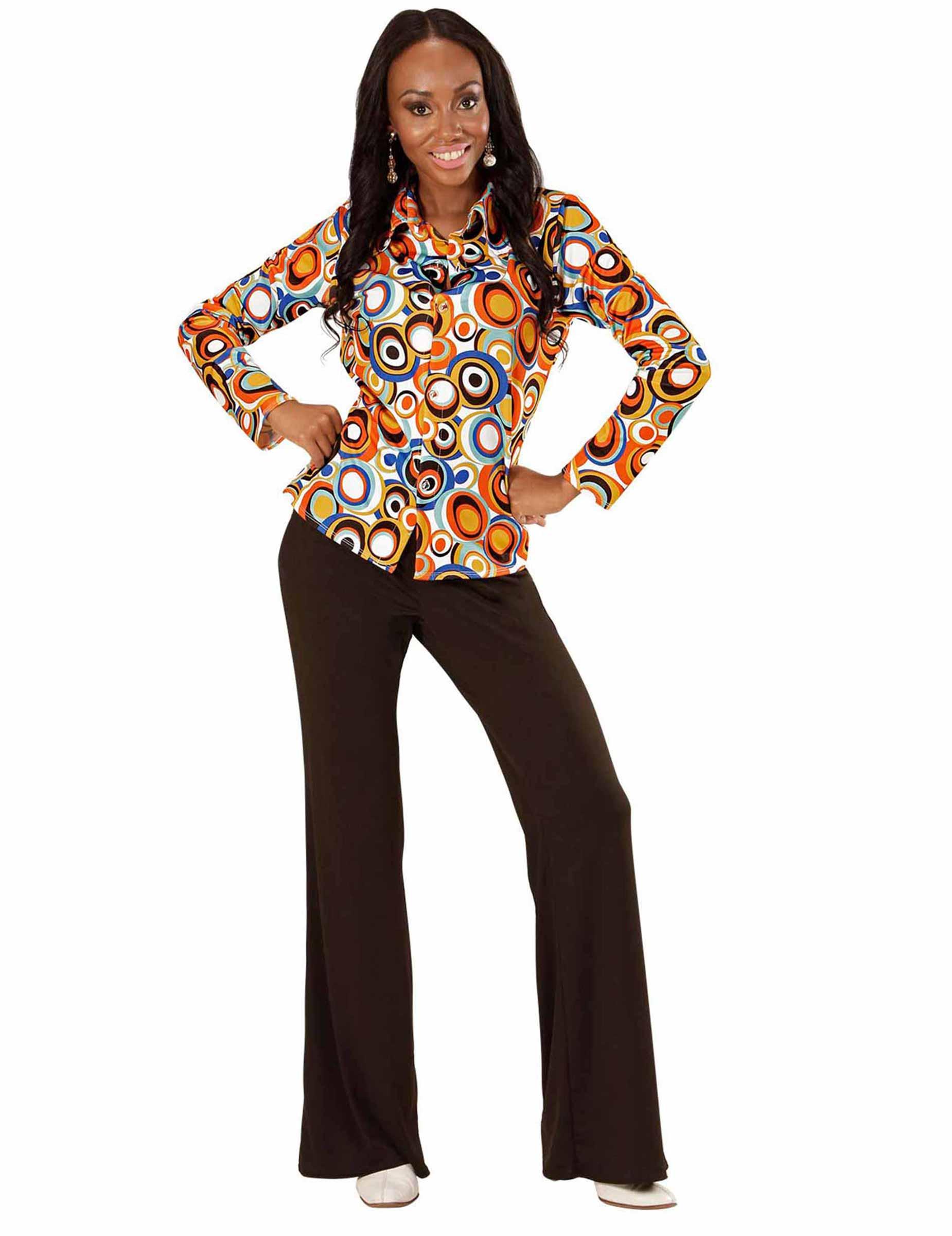 Camisa Mujer 70 Adultos y Burbujas Groovy Años Disfraces SWgrSqv