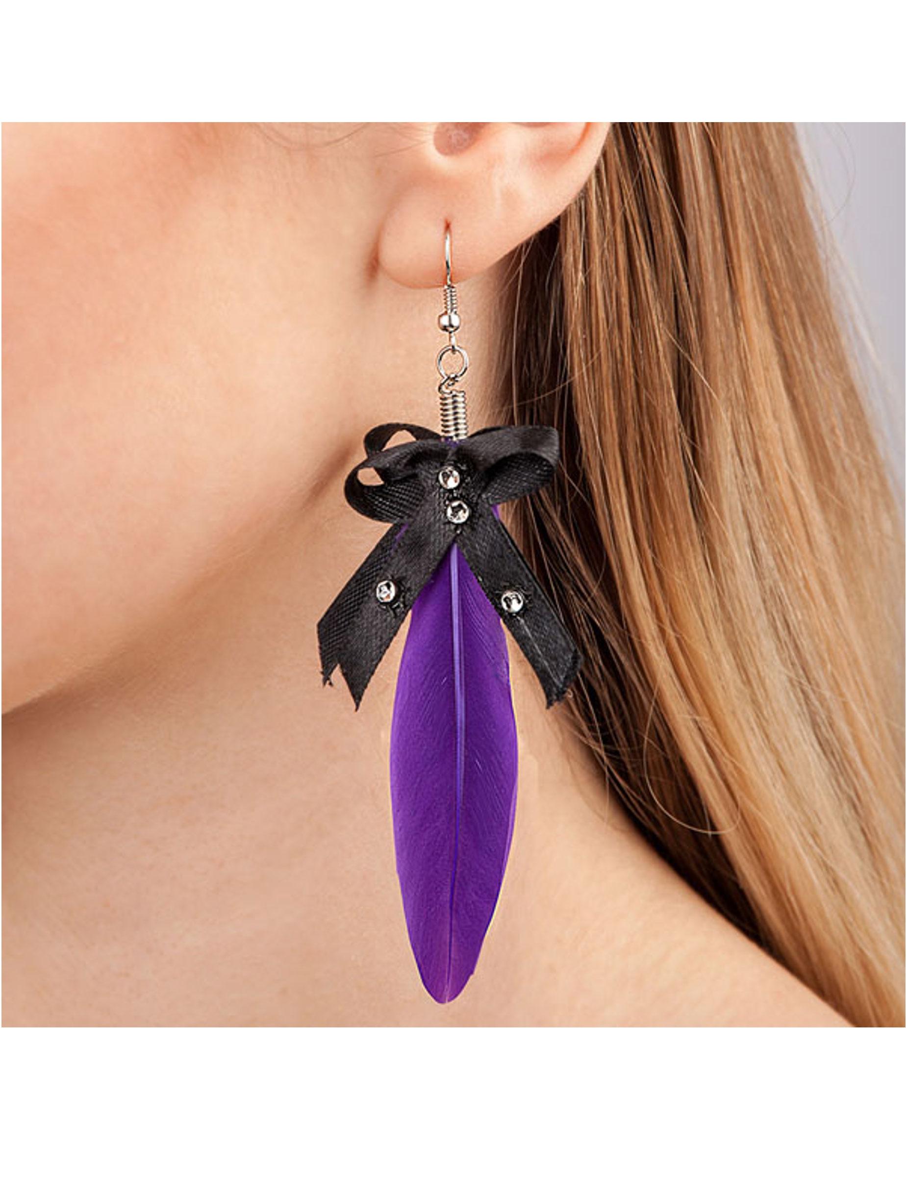 3099eb1d0ec5 Aretes pluma violeta adulto  Accesorios