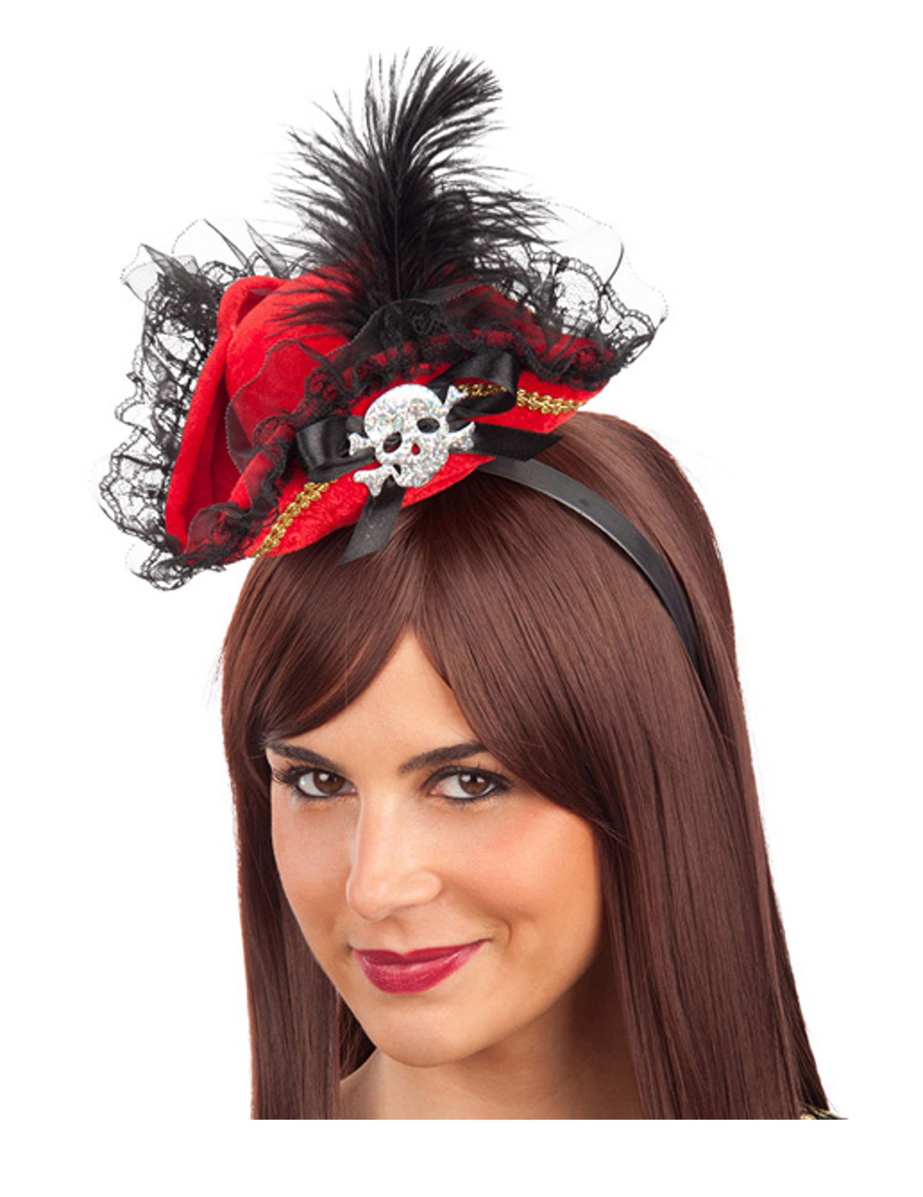Sombrero De Pirata Mujer Rojo Y Negro Encaje con lazos