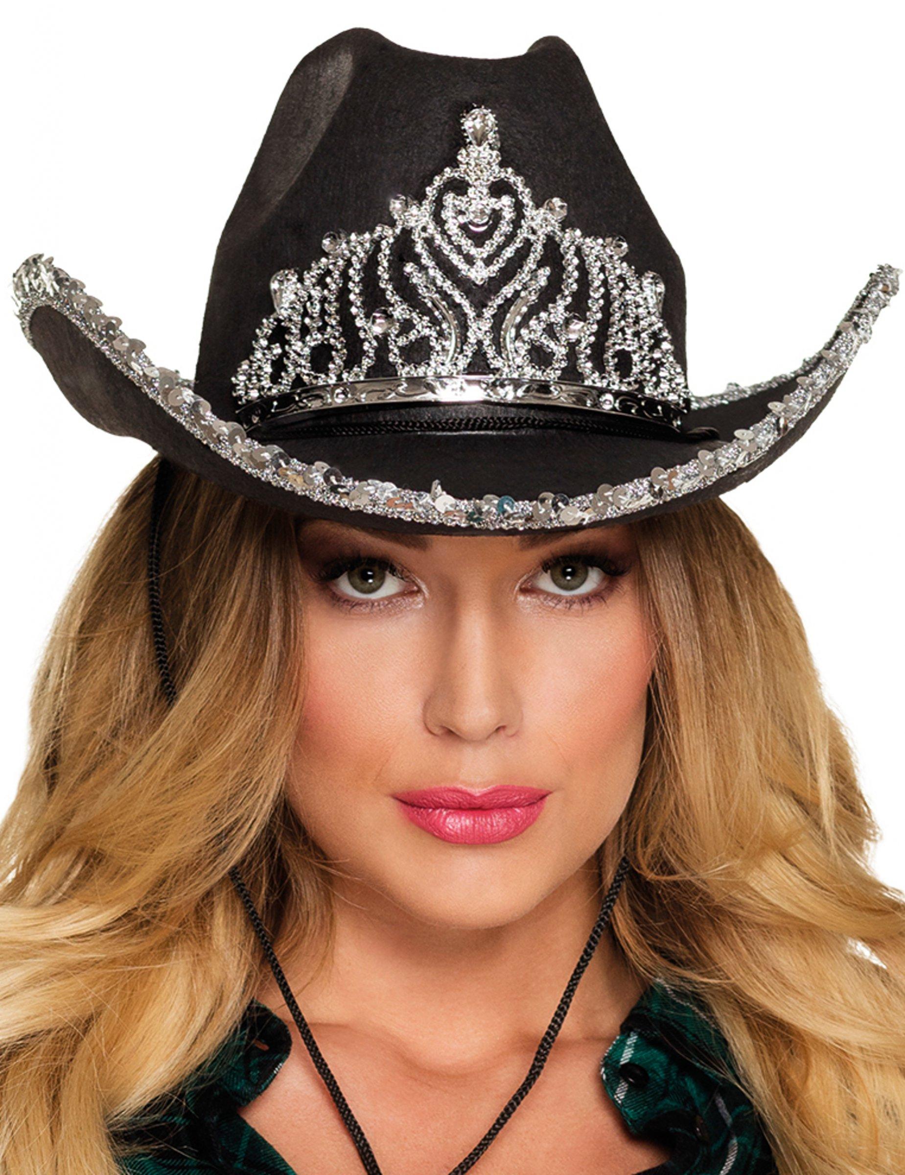 Sombrero princesa cowboy negro mujer  Sombreros 8ee5724b59a