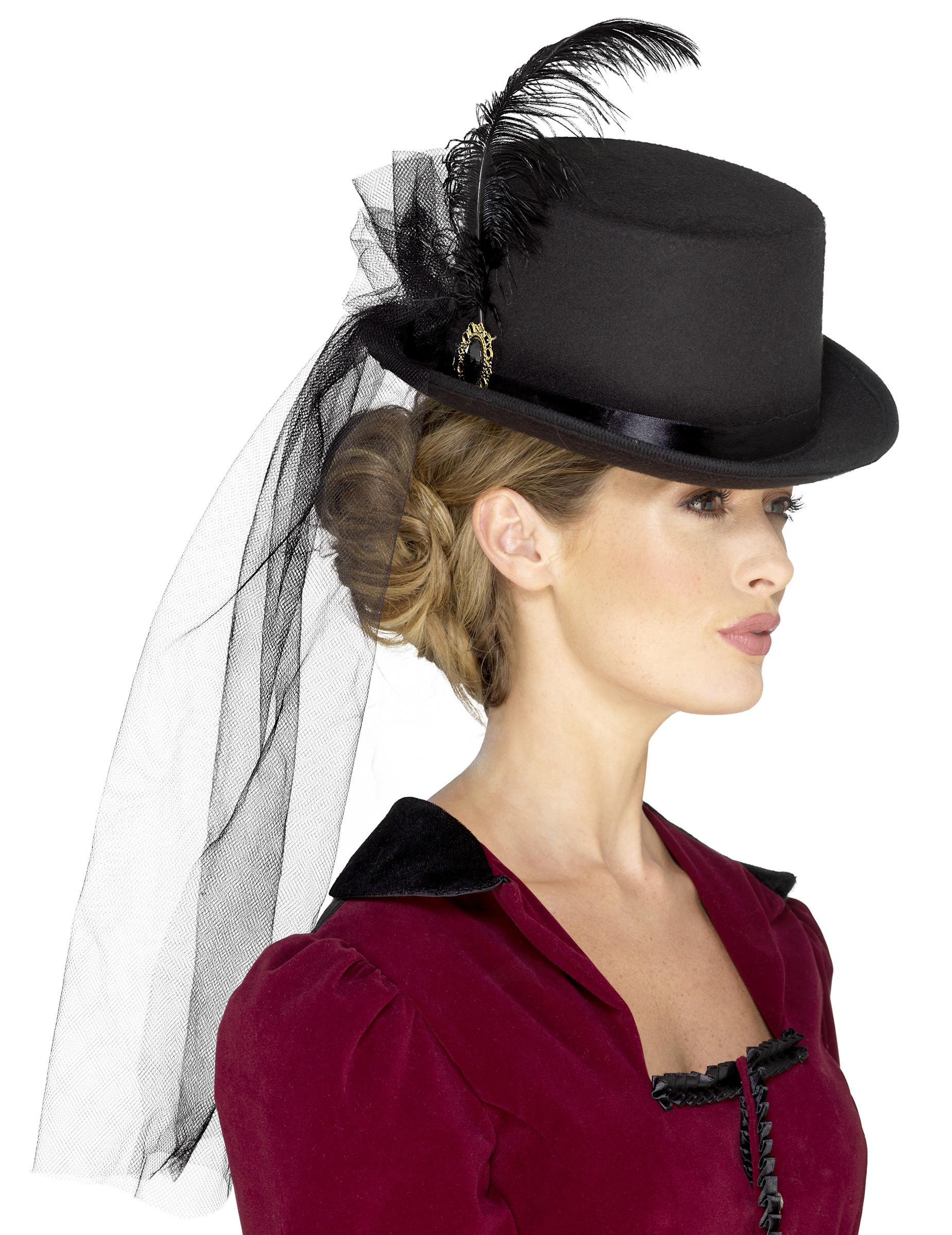Sombrero alto con velo mujer Steampunk  Sombreros b62bd1ff3c7