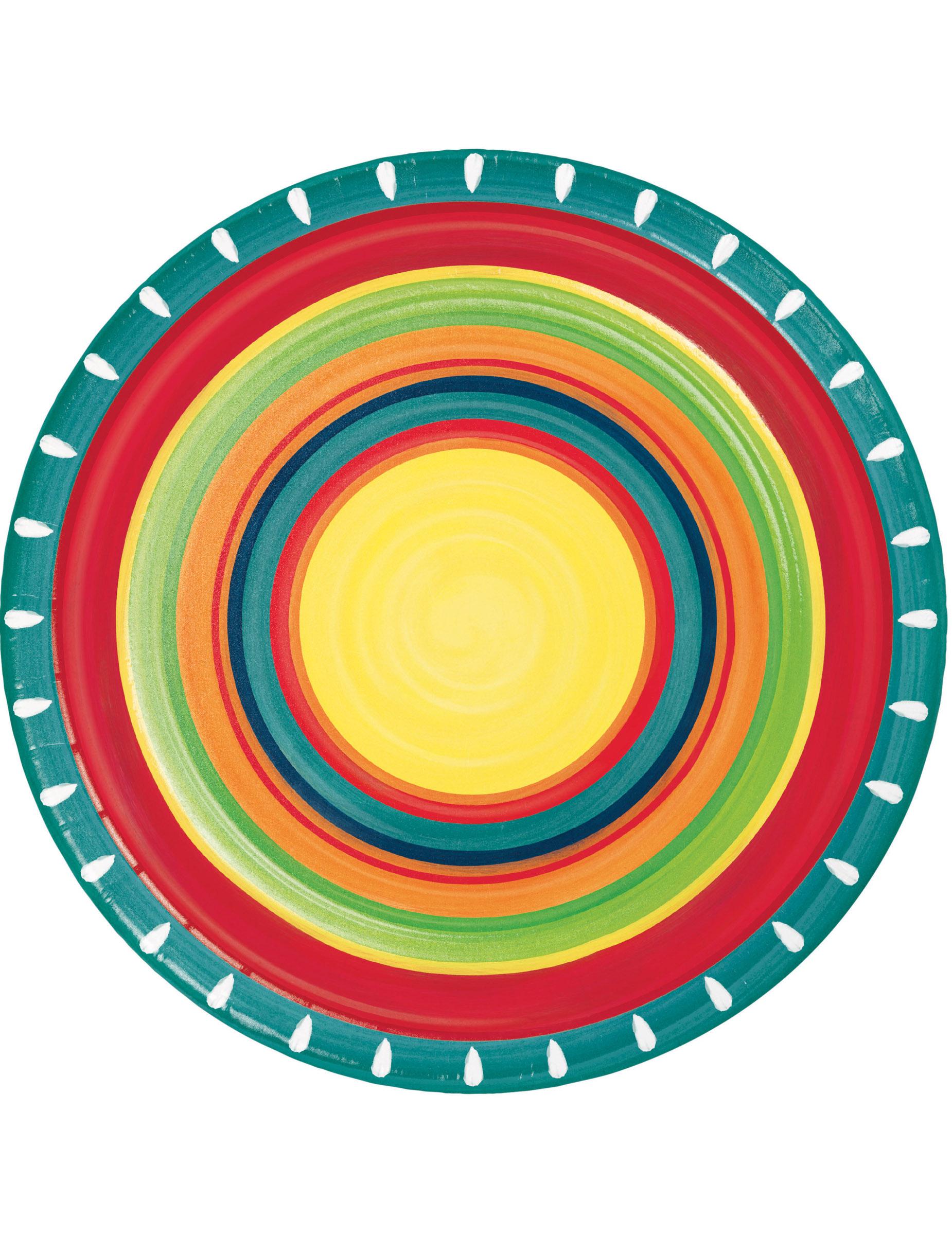 8 Platos de cartón mexicanos 22 cm  Decoración 9fcaaeae201