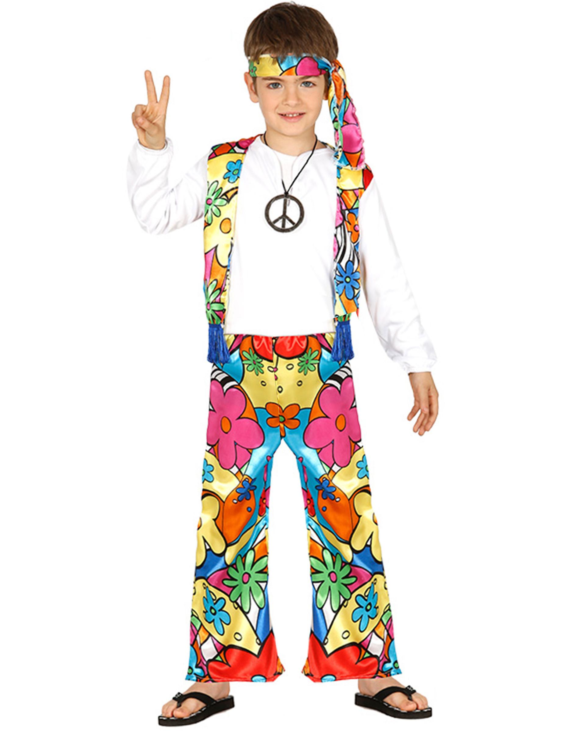 2d19b67c5 Disfraz hippie flores grandes niño
