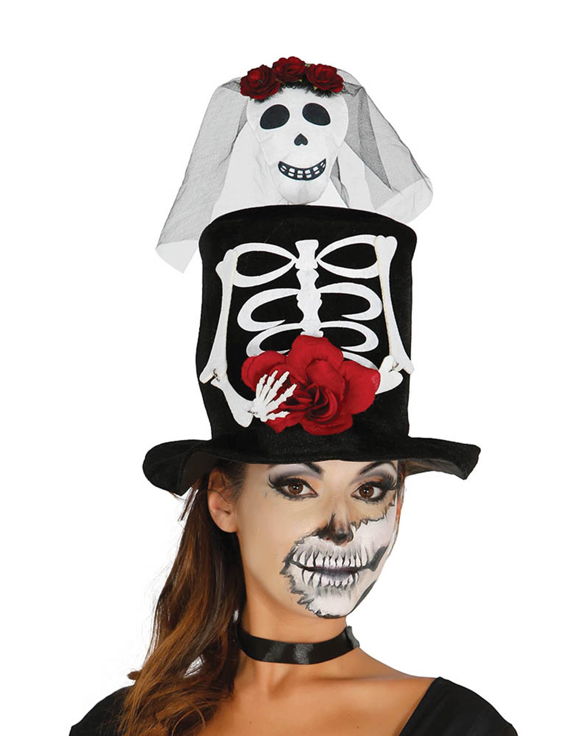 Sombrero de copa novia esqueleto adulto Halloween  Sombreros feceedcfc86