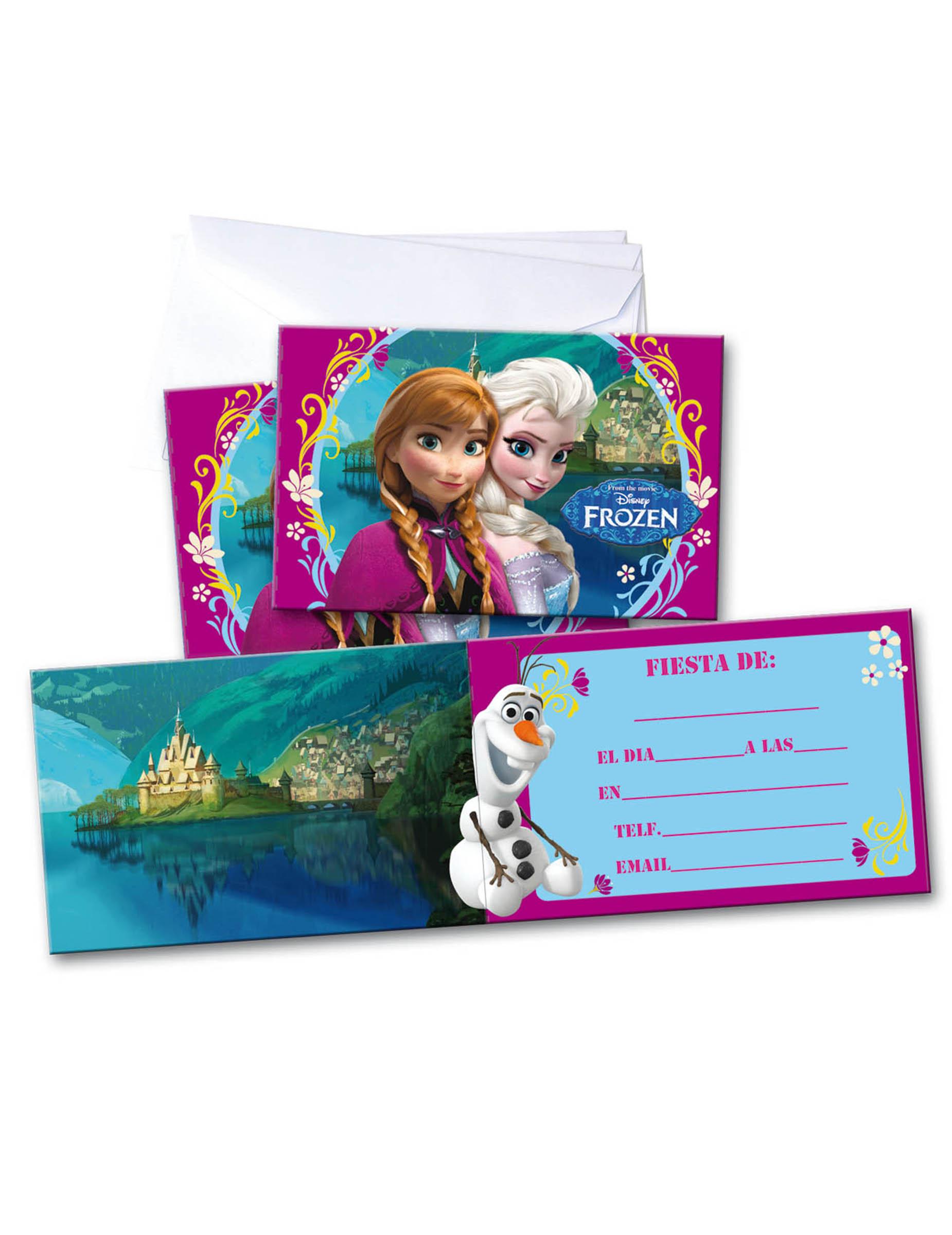 6 Tarjetas De Invitación Con Sobres Frozen