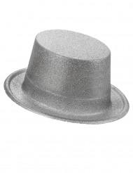 Sombrero de copa plateado para adulto