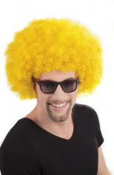 Peluca afro disco amarilla para adulto