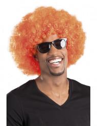 Peluca afro disco naranja para adulto