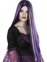 Peluca gótica negra y violeta para mujer ideal para Halloween