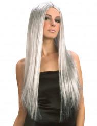 Peluca larga gris para mujer Halloween