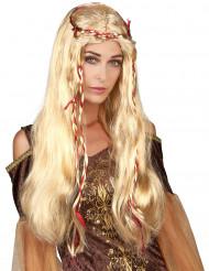 Peluca rubia medieval para mujer