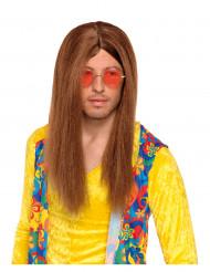 Peluca de hippie marrón para hombre